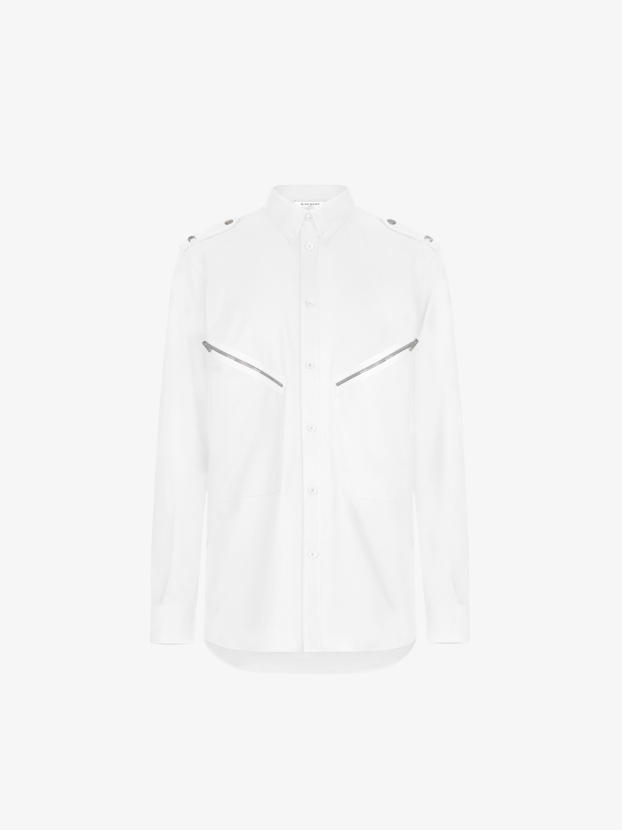 Shirt in cotton twill with metallic details