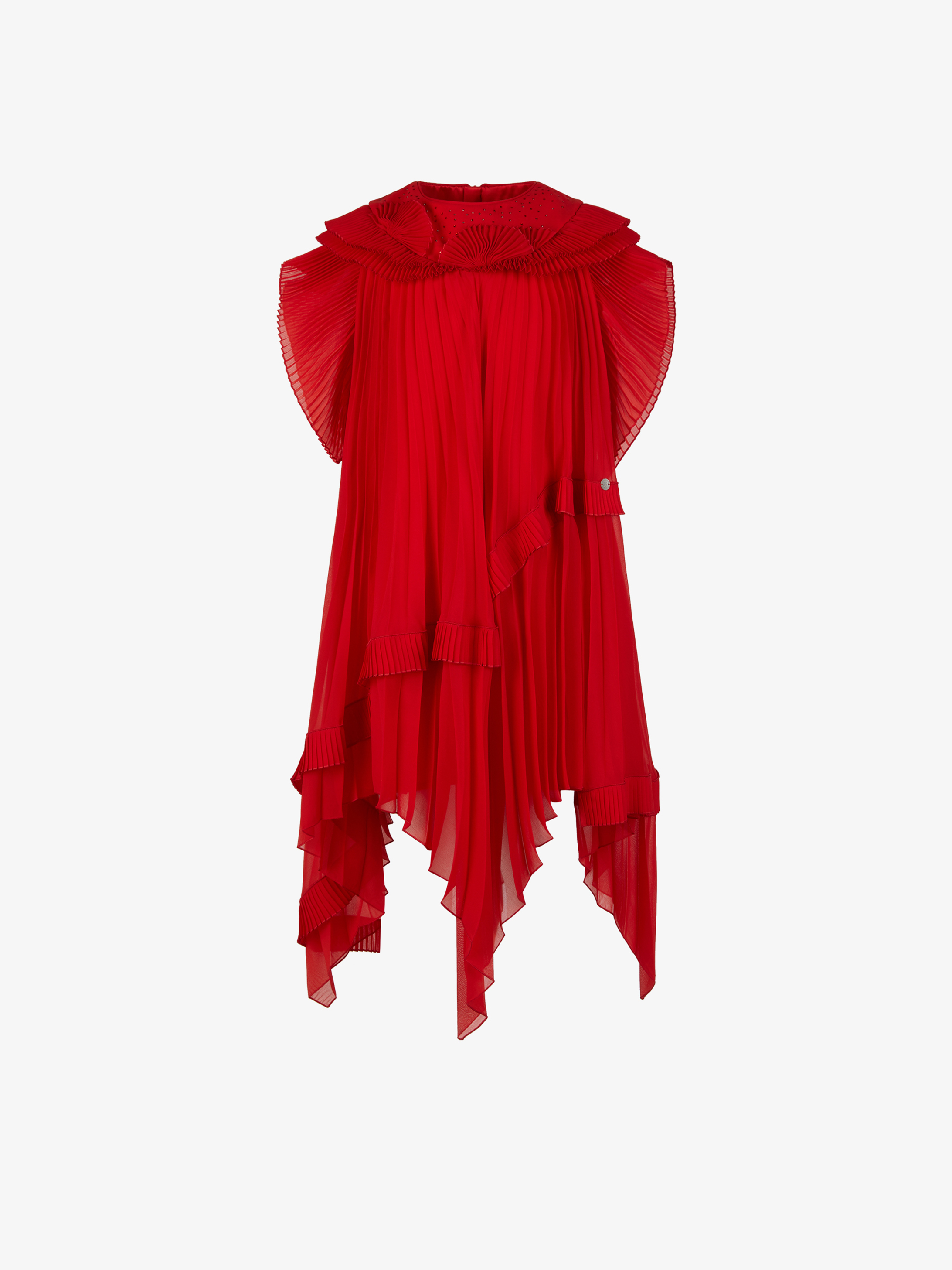 Pleated veil dress with rhinestones SWAROVSKI