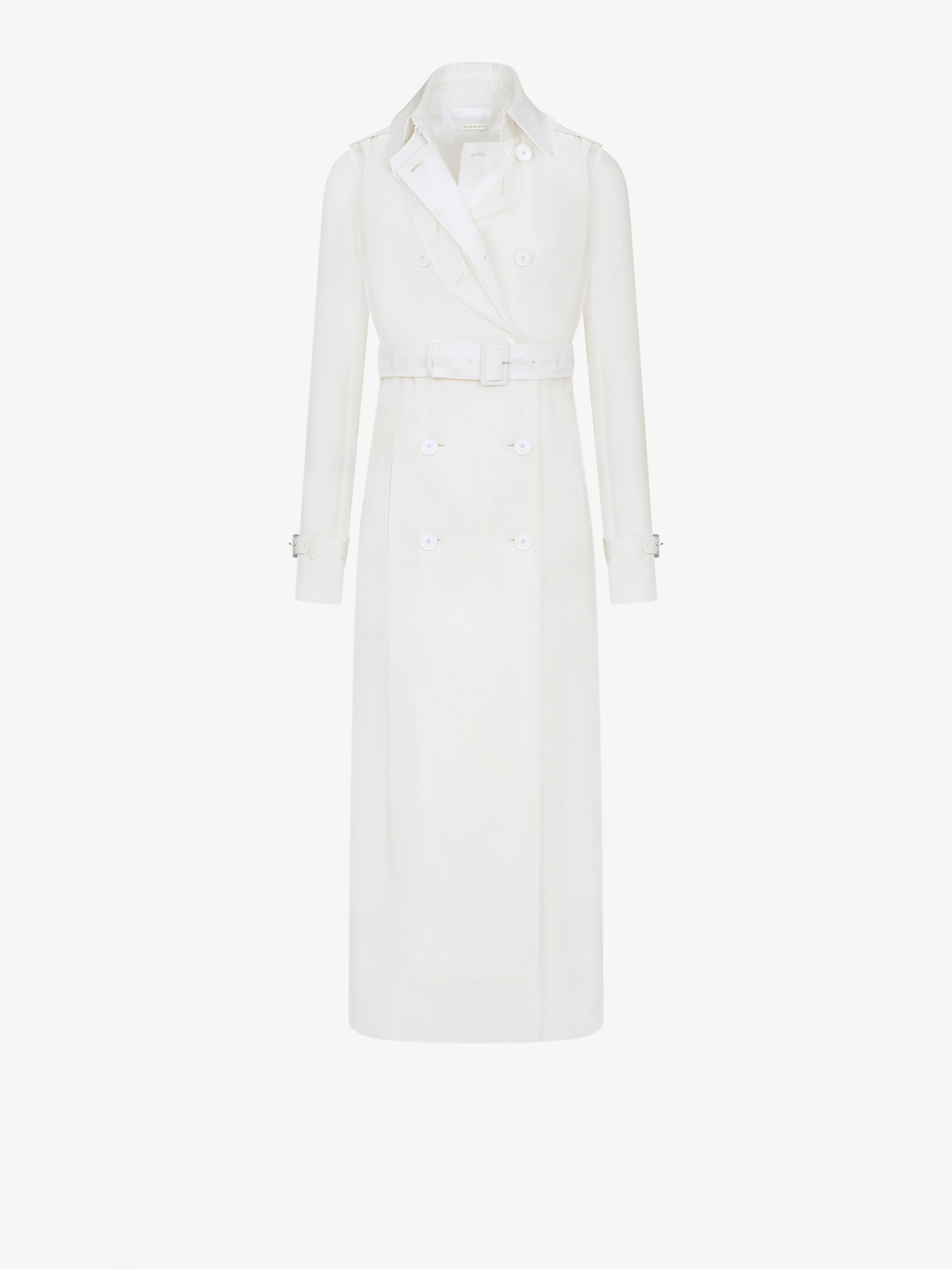 Long trench coat in cotton and organza