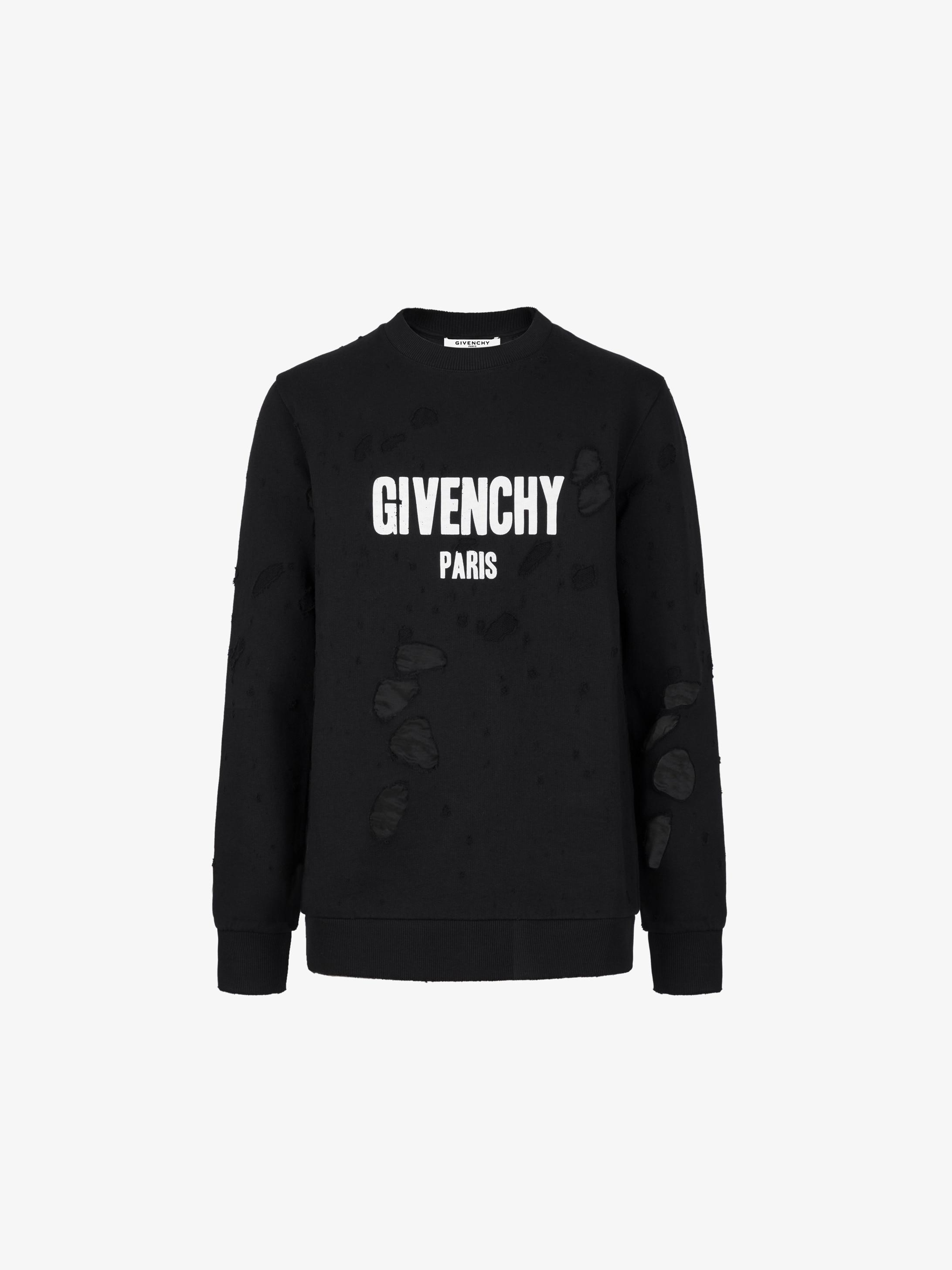 GIVENCHY PARIS destroyed sweatshirt