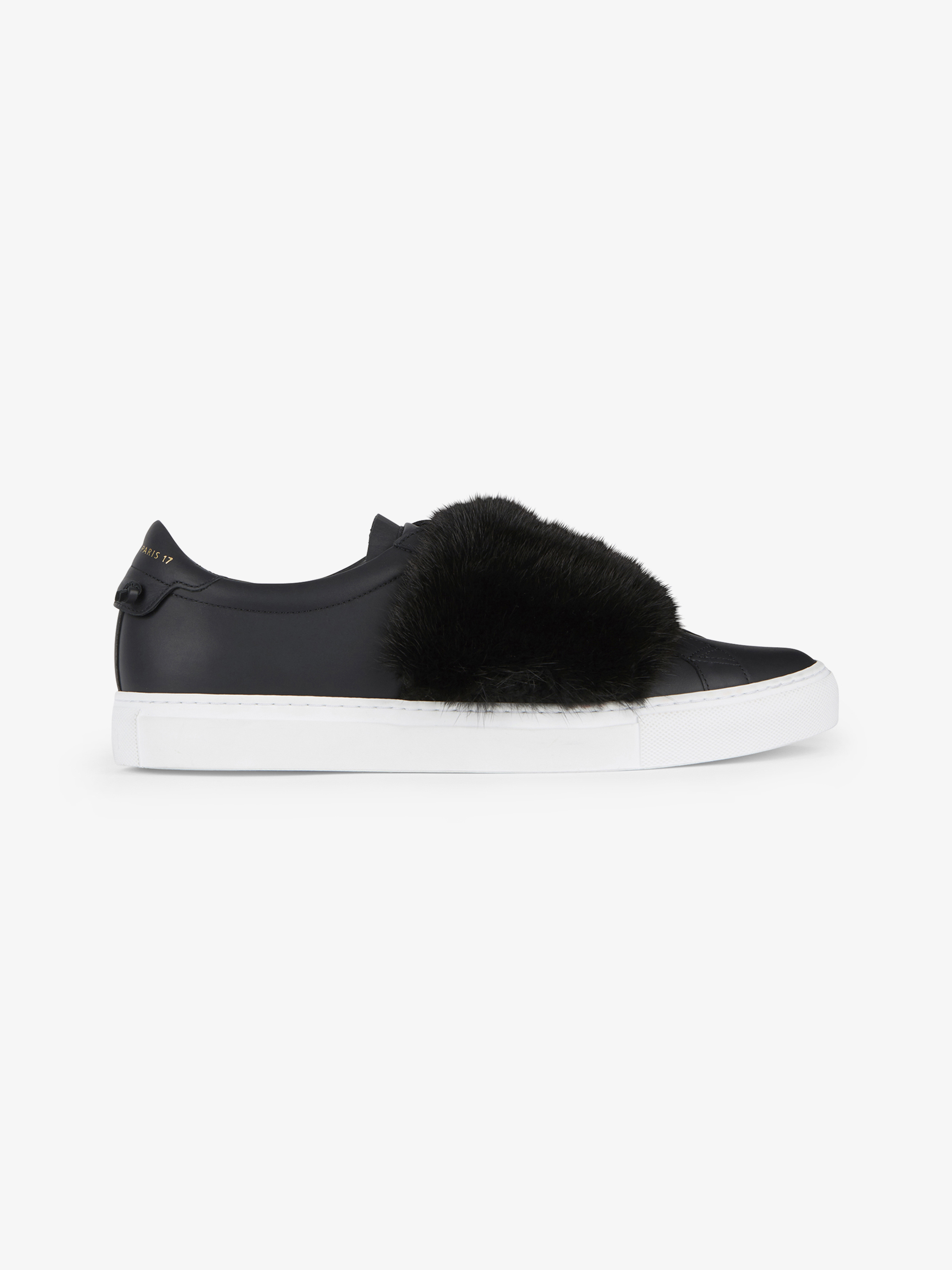 Sneakers in leather and mink