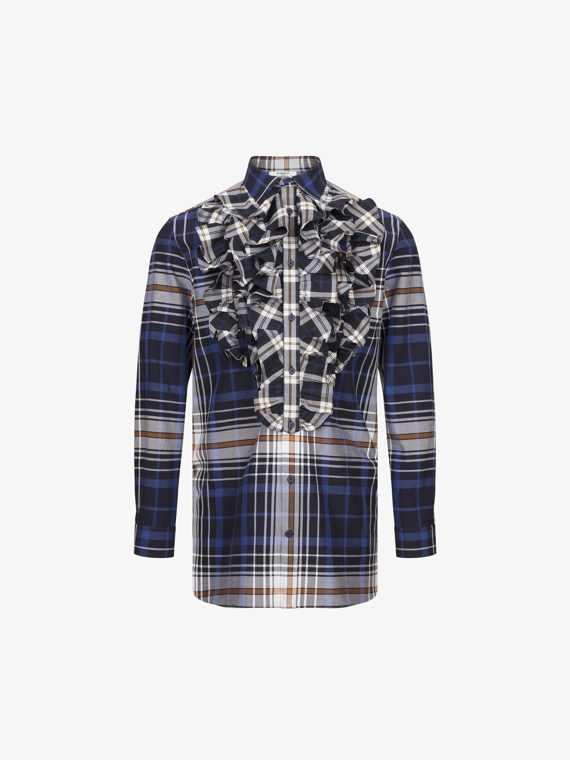 超大褶裥苏格兰格子衬衫