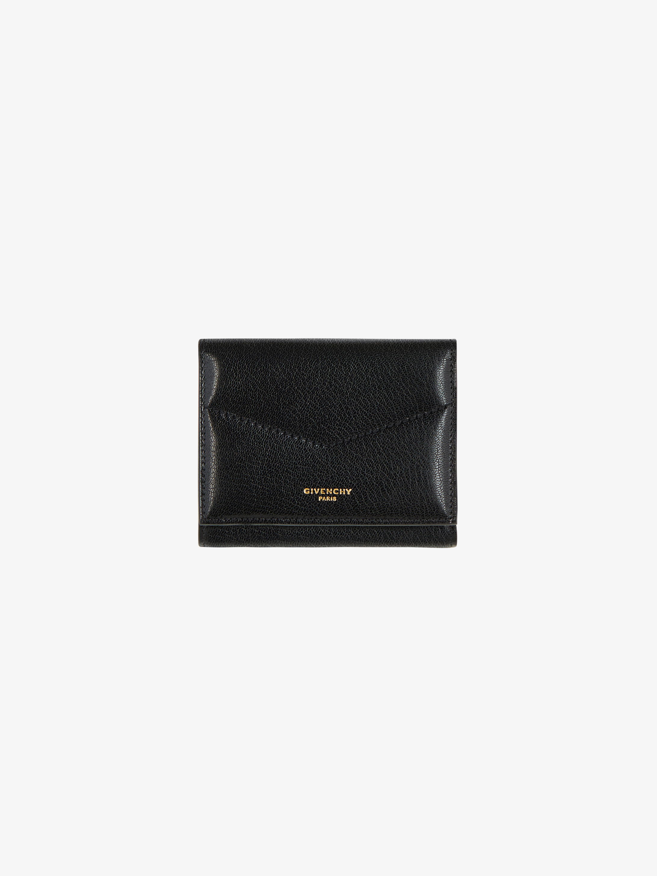 Edge tri-fold wallet in two tone leather