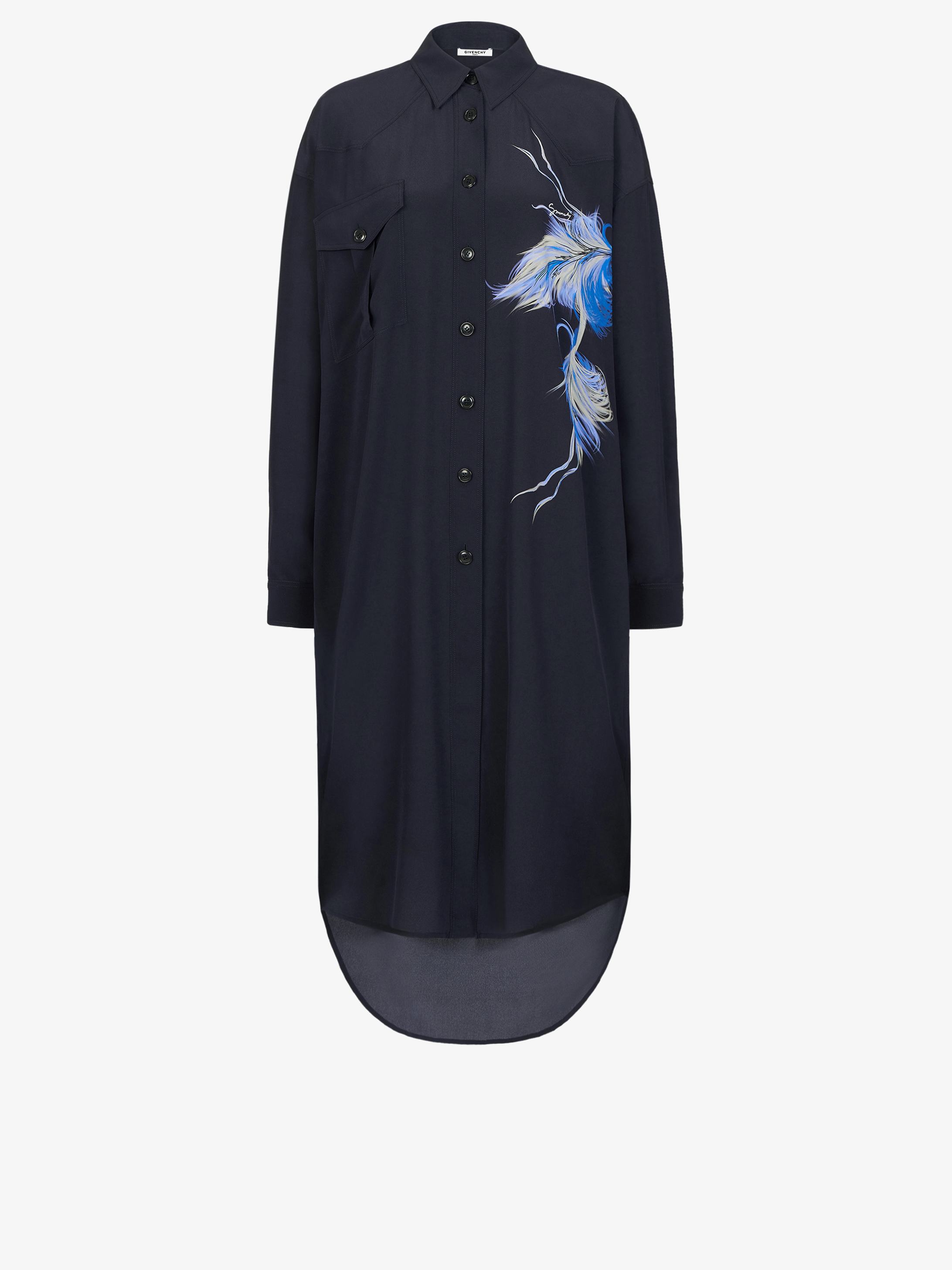 Birds printed shirt dress in silk