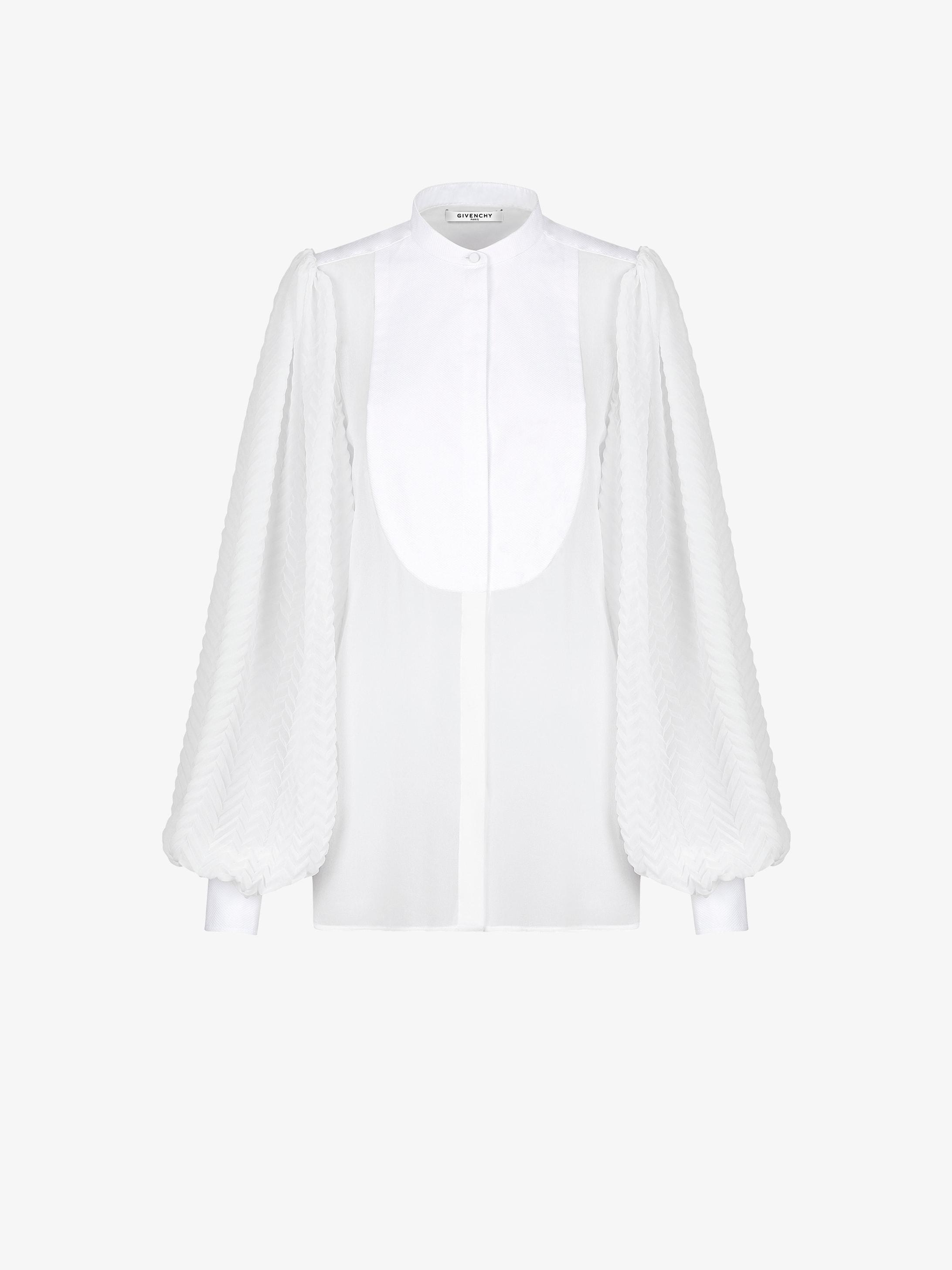Blusa di seta con maniche plissé