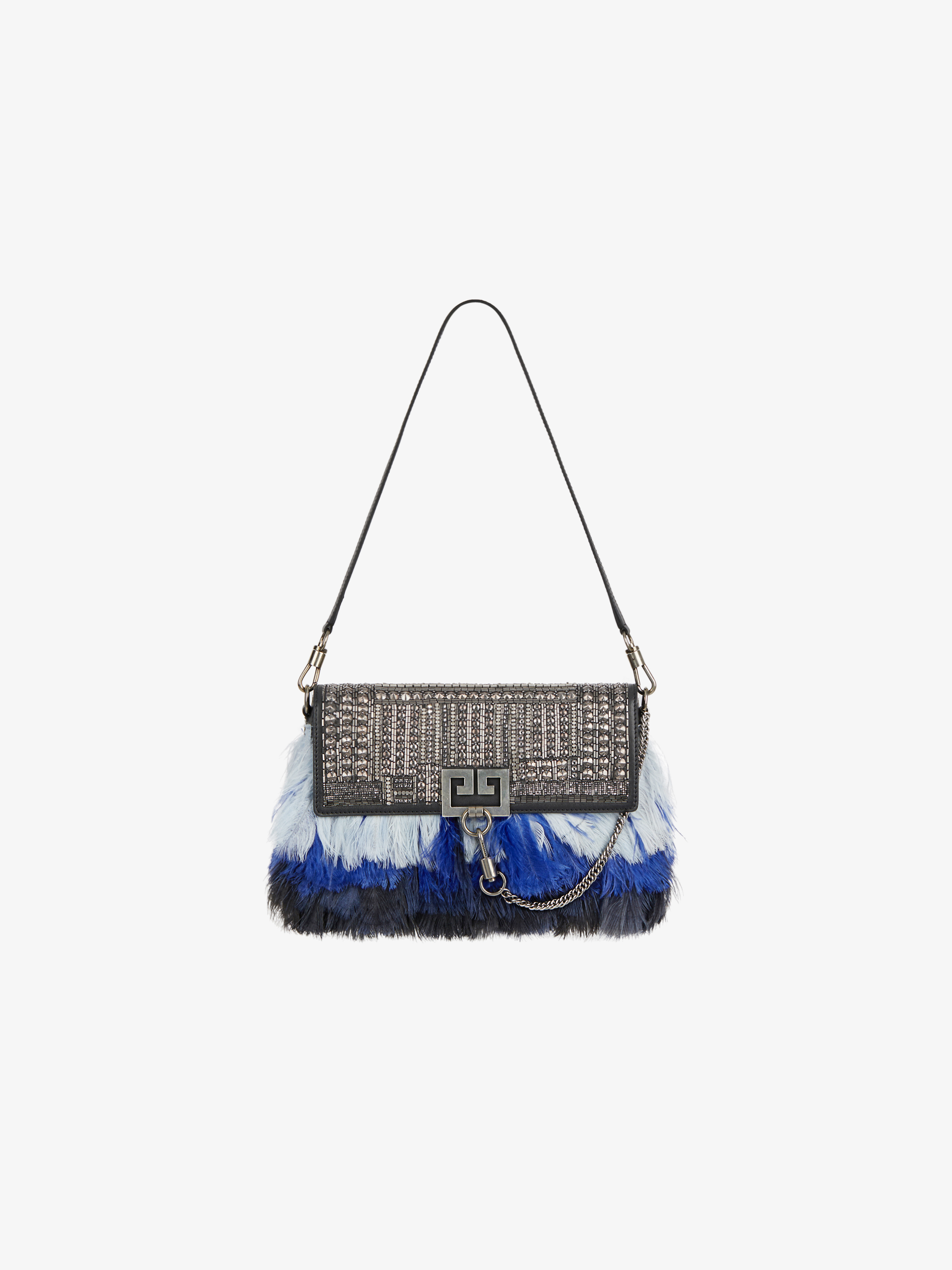 Crytals and feathers embroidered Charm bag