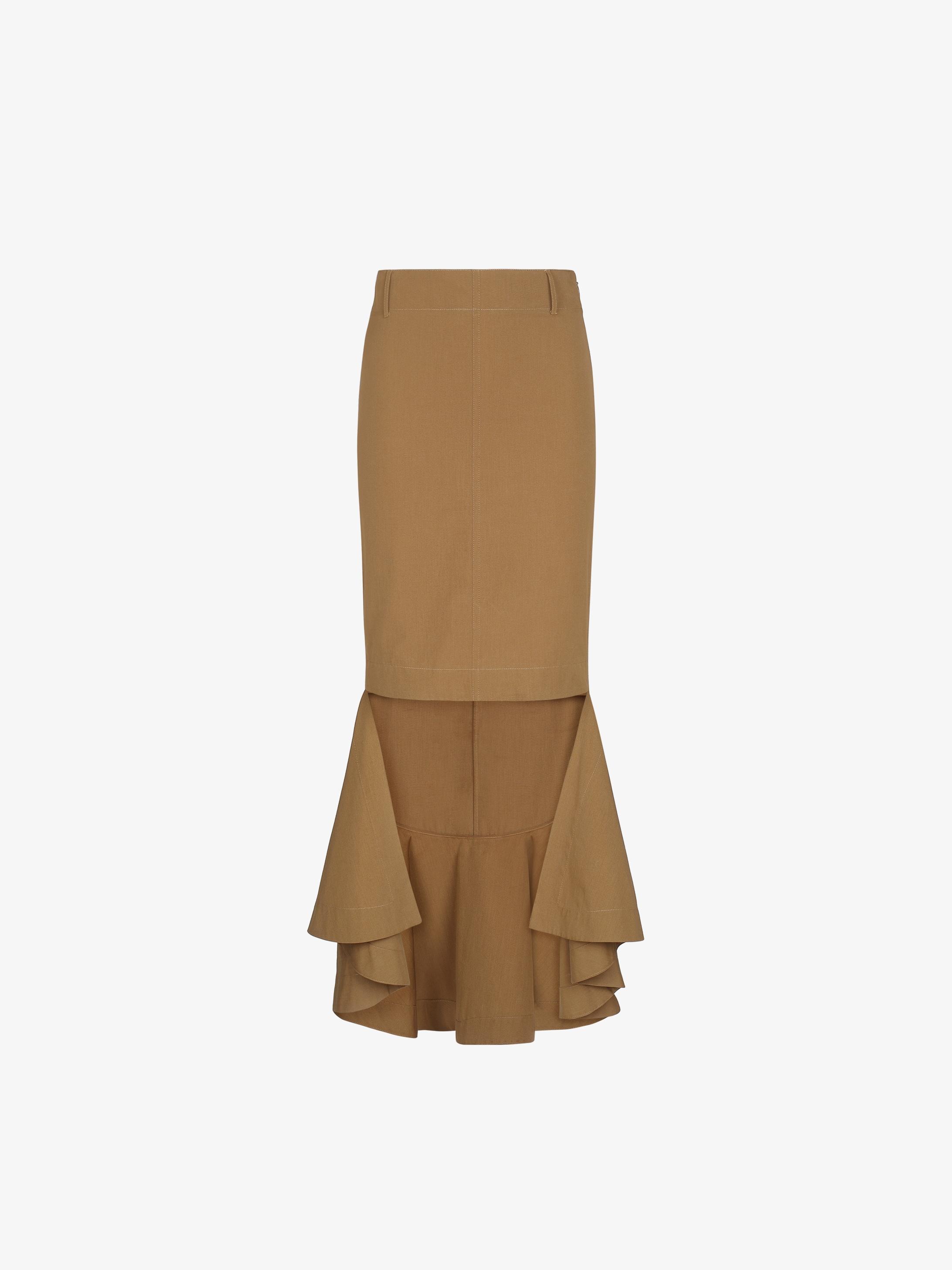 Asymmetrical skirt with ruffle