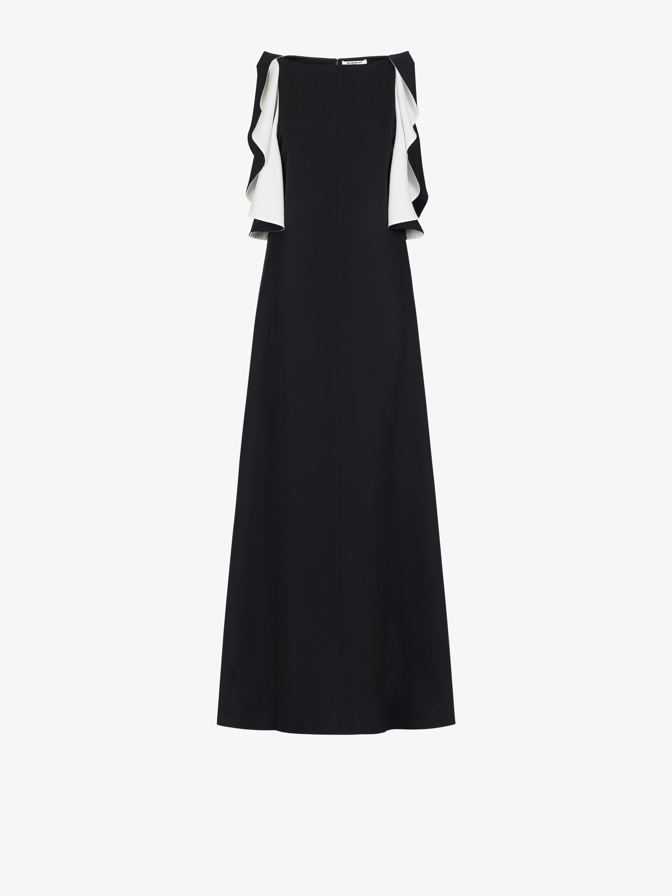 Evening dress with contrasting ruffles