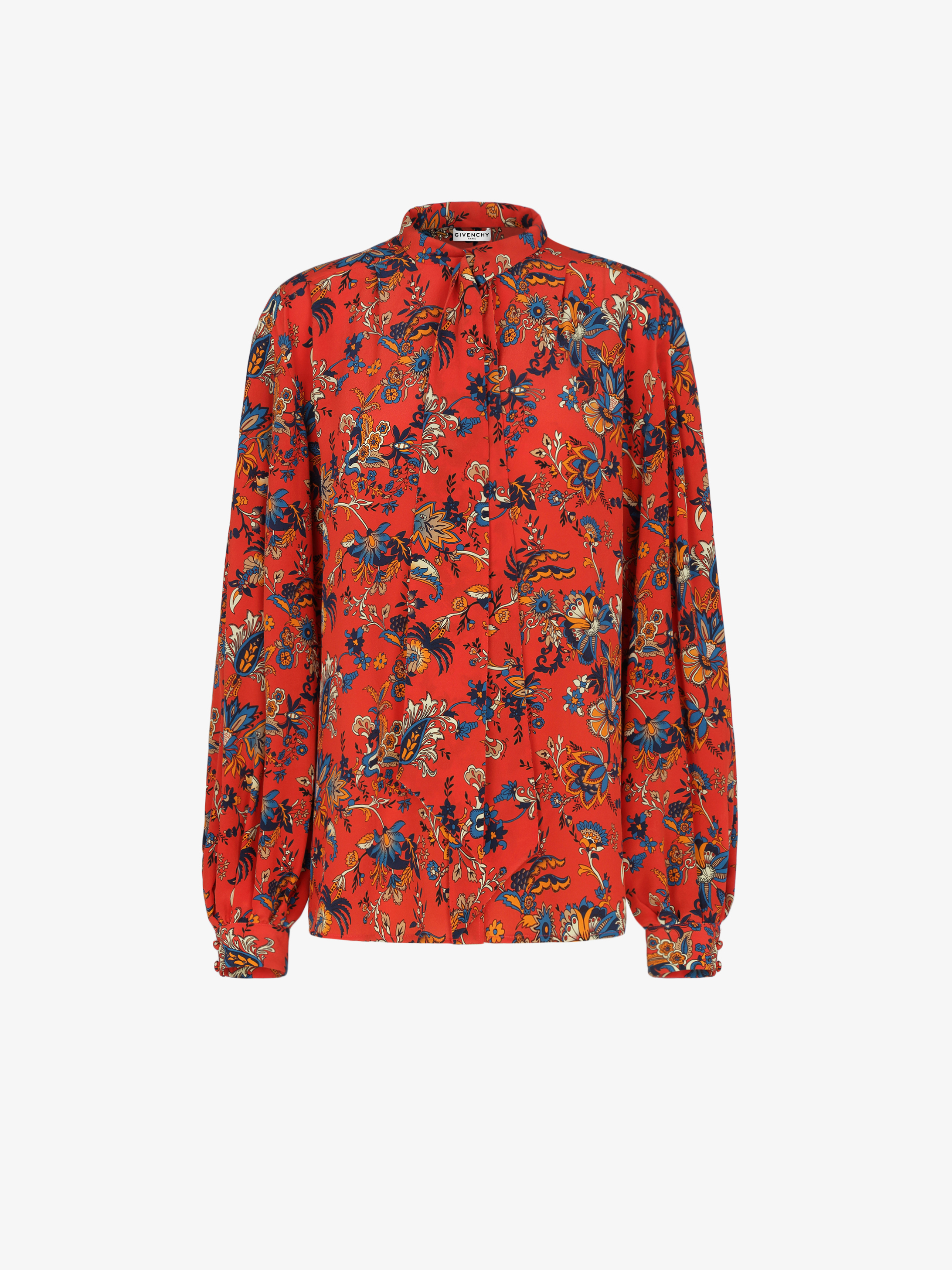 Blouse in silk with floral print and ascot tie