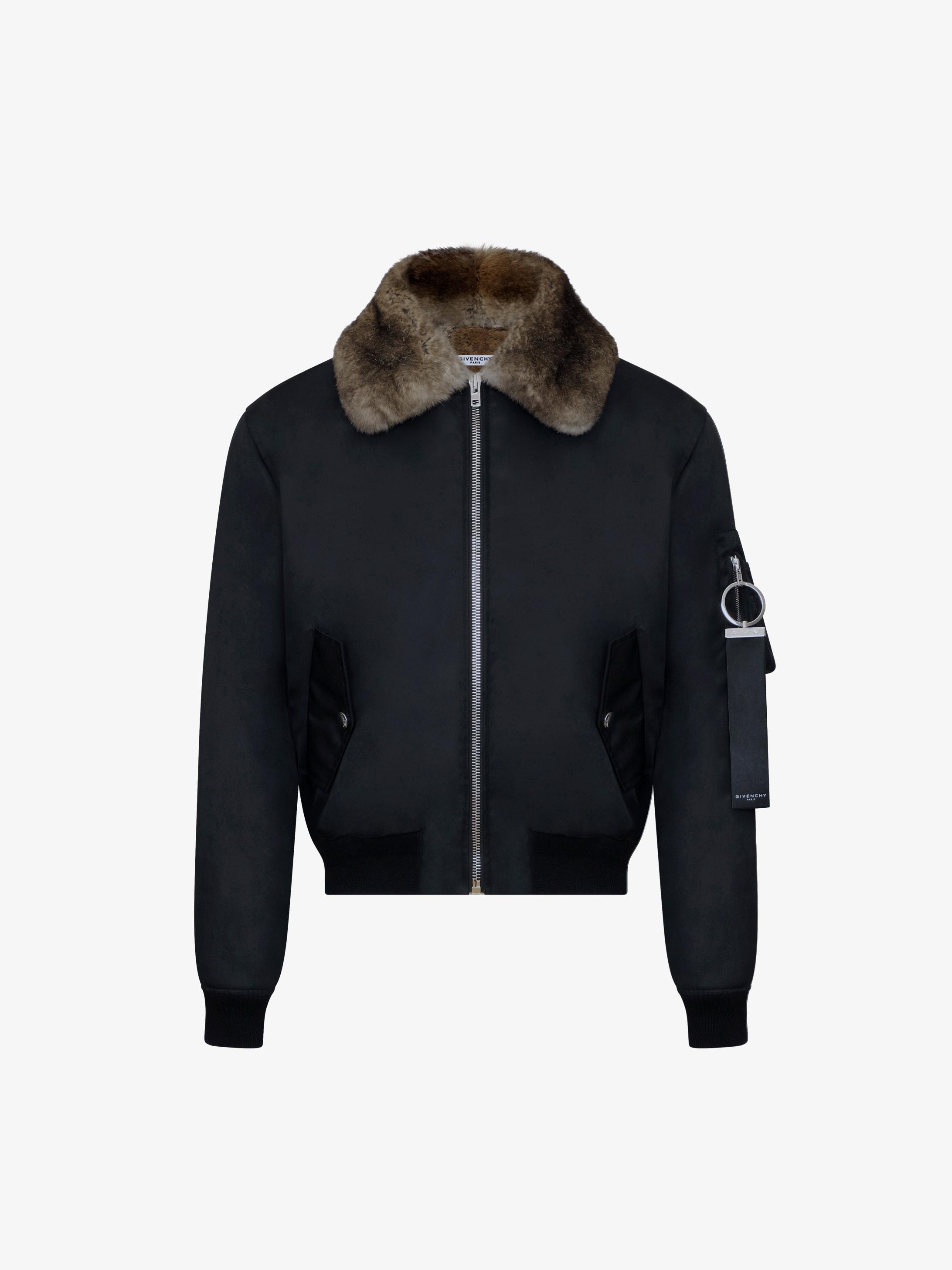 Nylon bomber jacket with fur lining