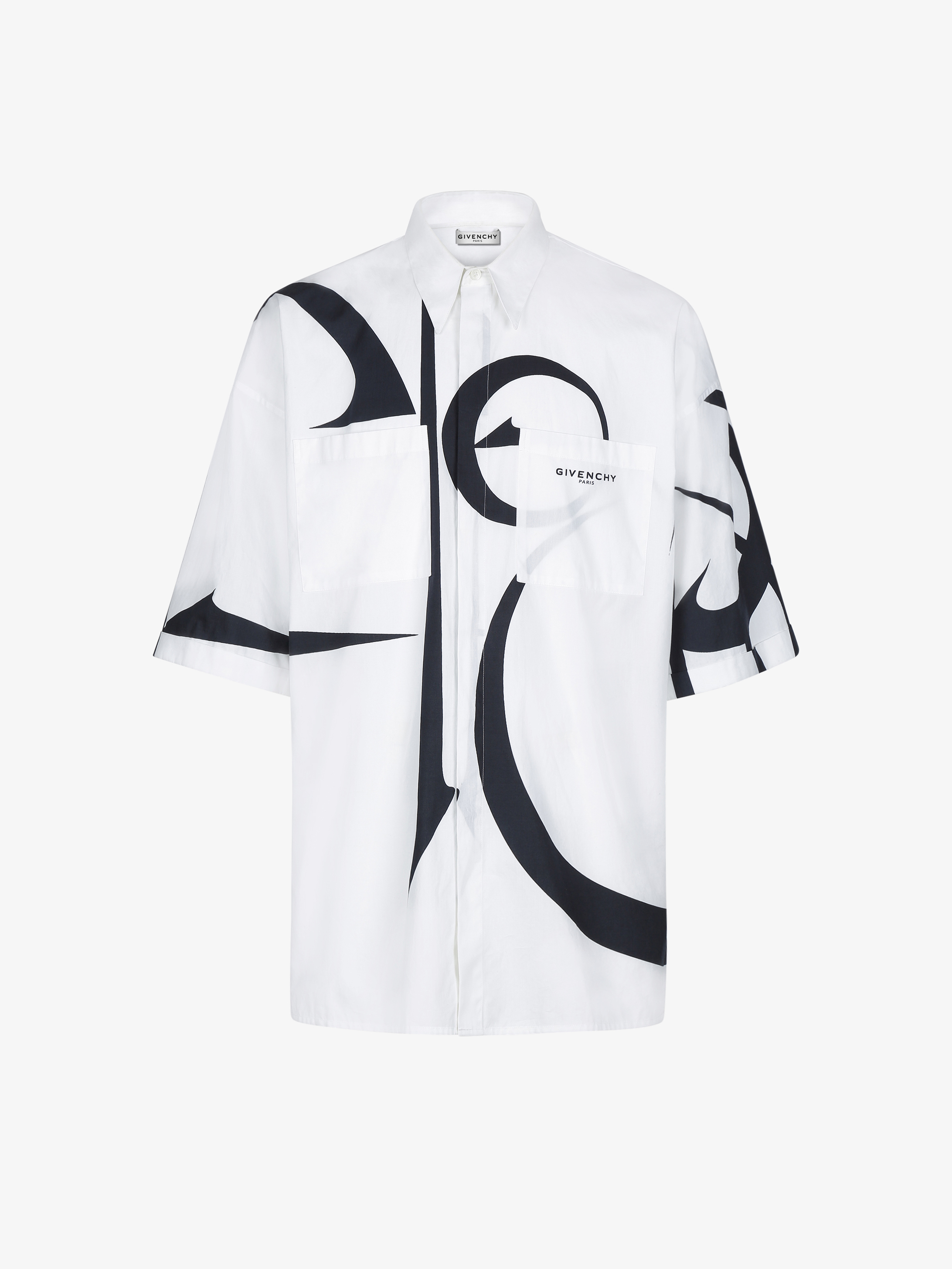 Oversized shirt with calligraphic pattern