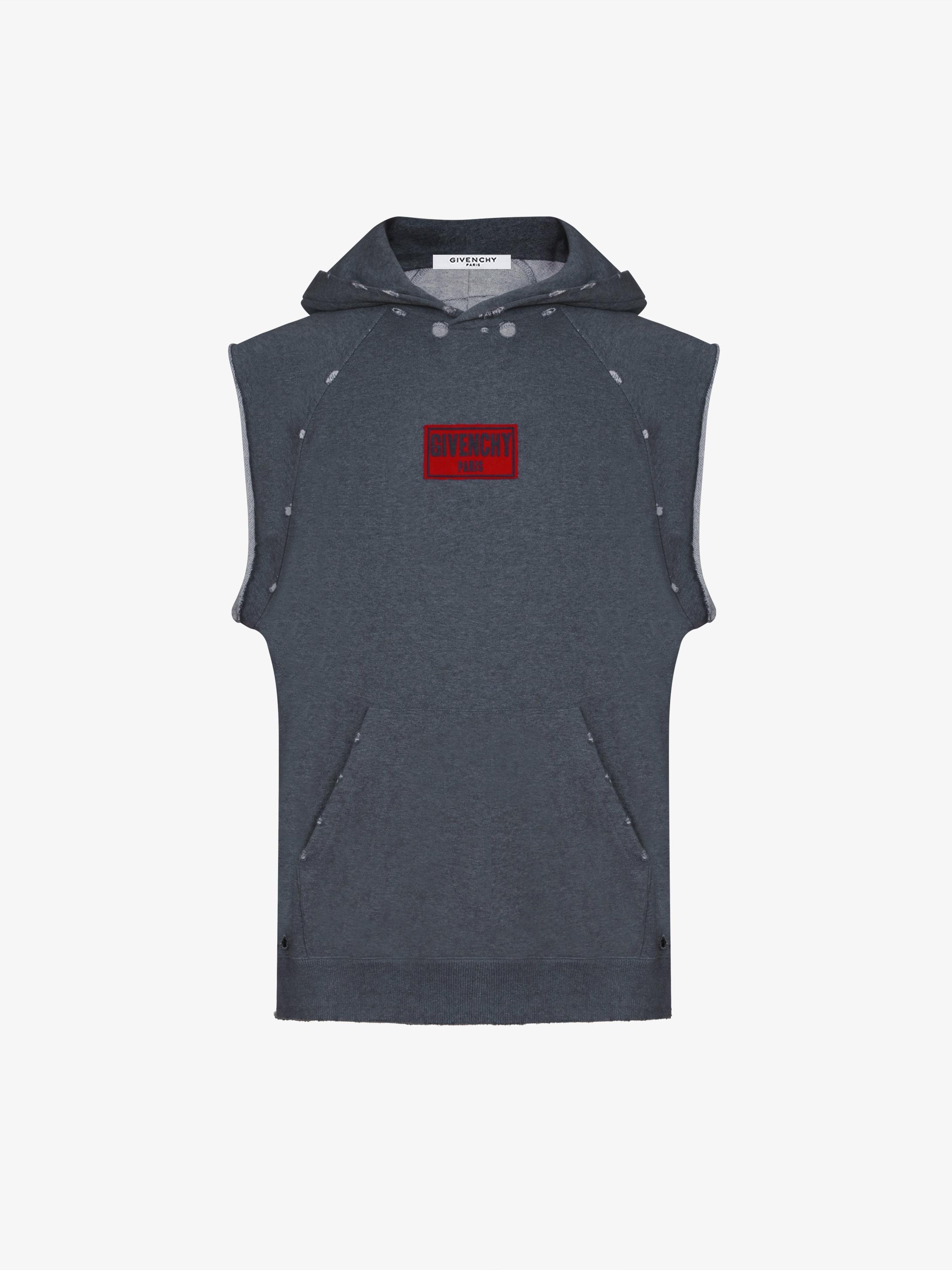 Destroyed sleeveless hoodie