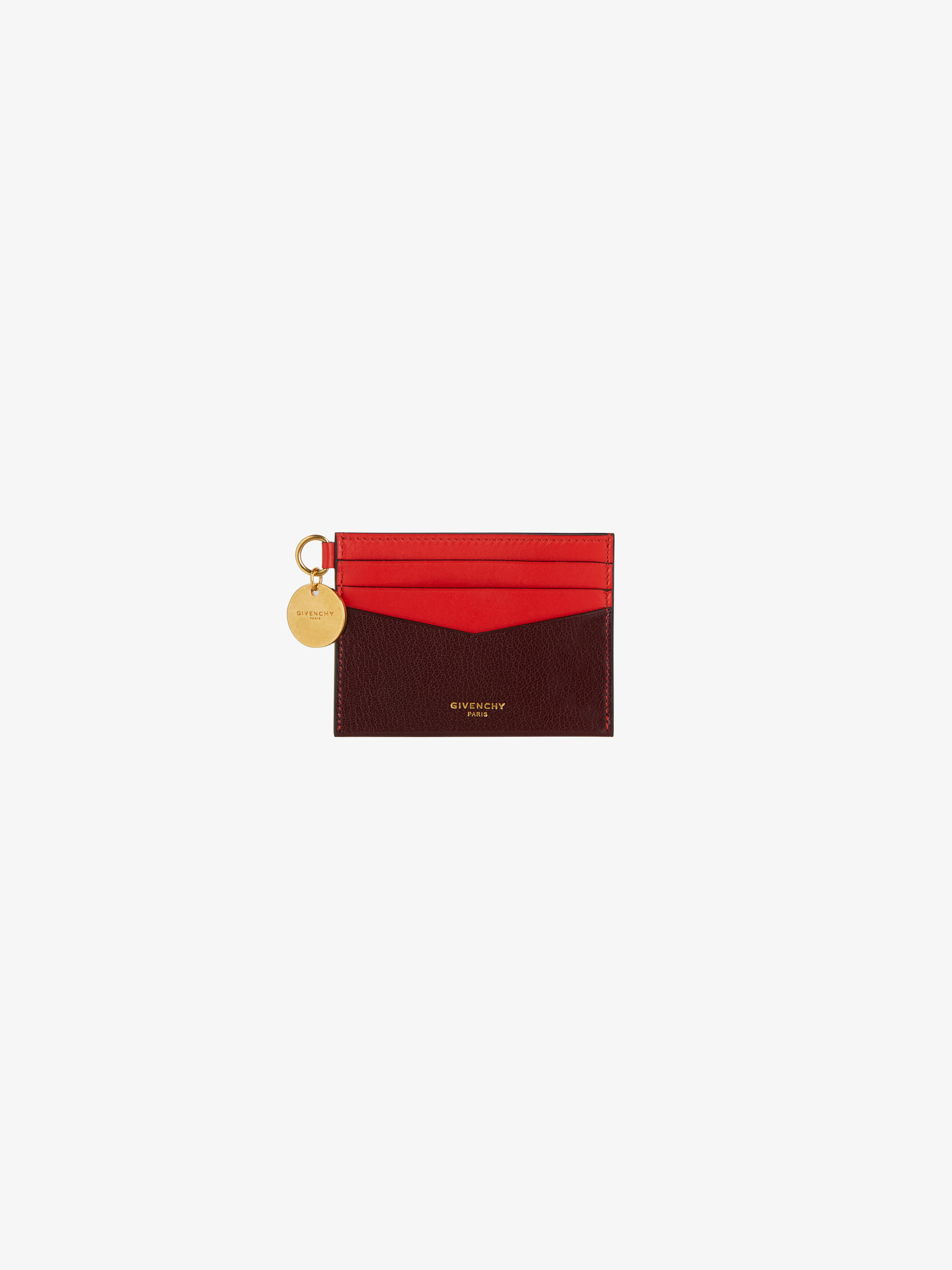 Edge card holder in two-tone leather