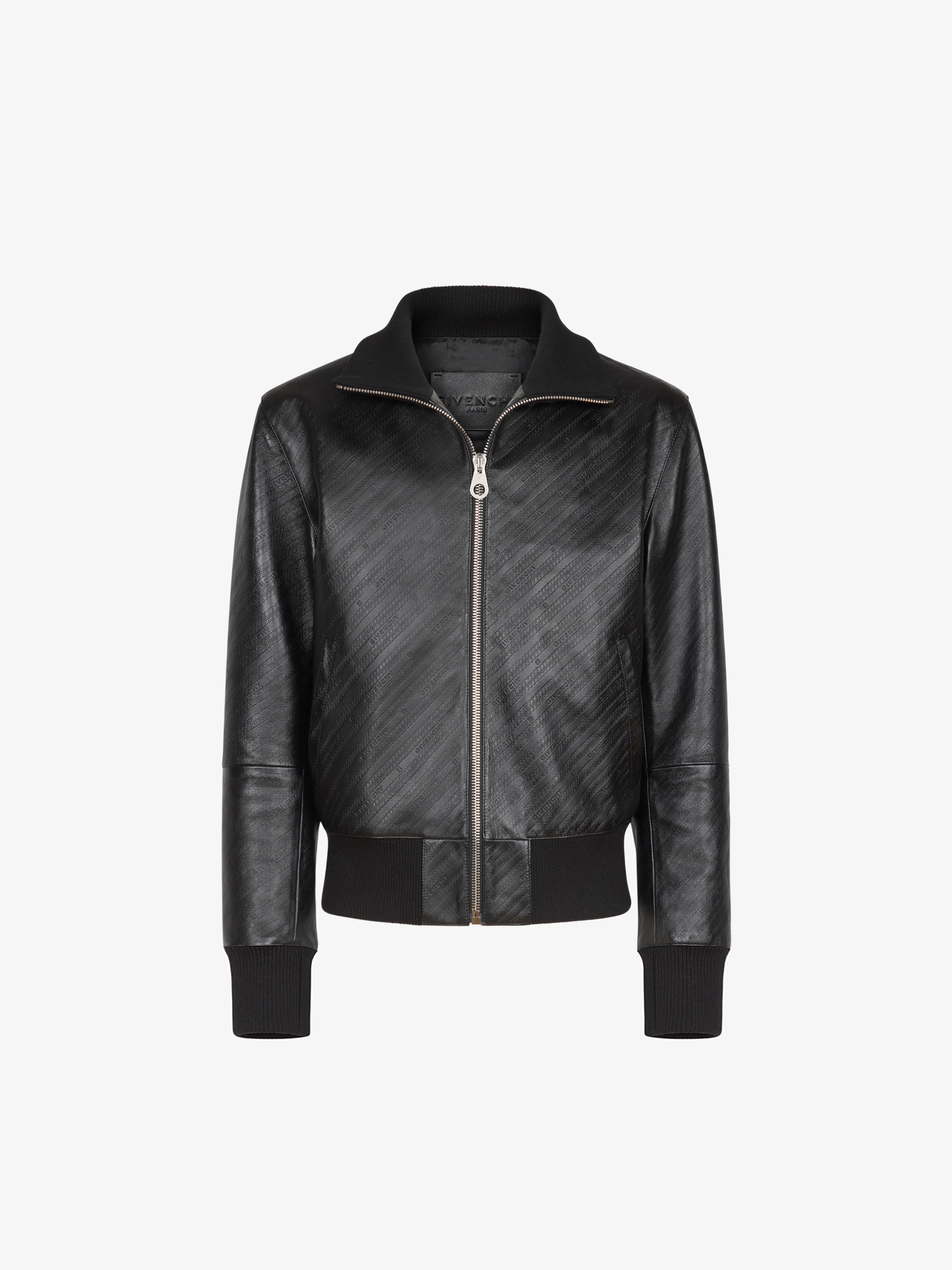 GIVENCHY chain bomber in embossed leather