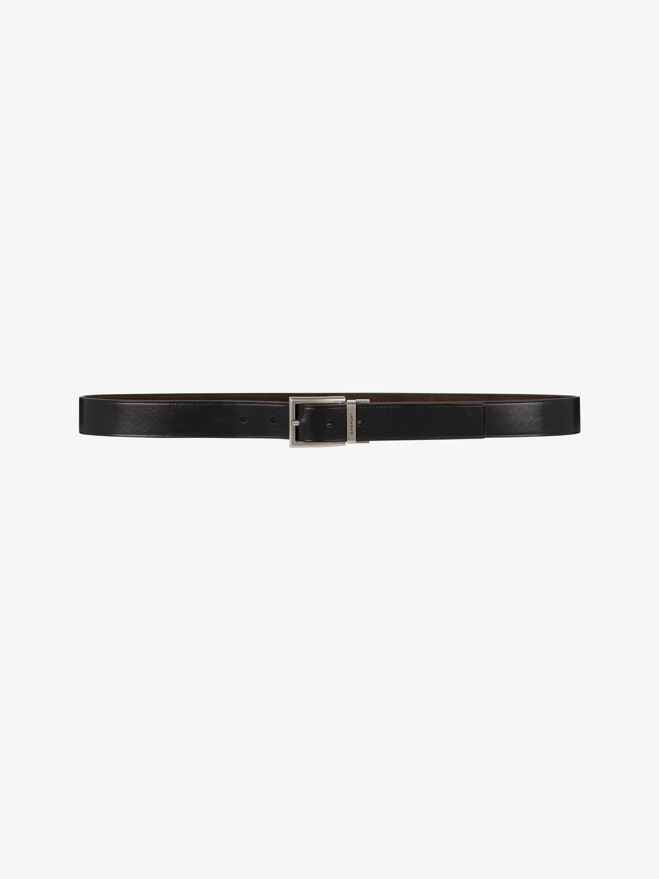 Reversible belt in leather and suede