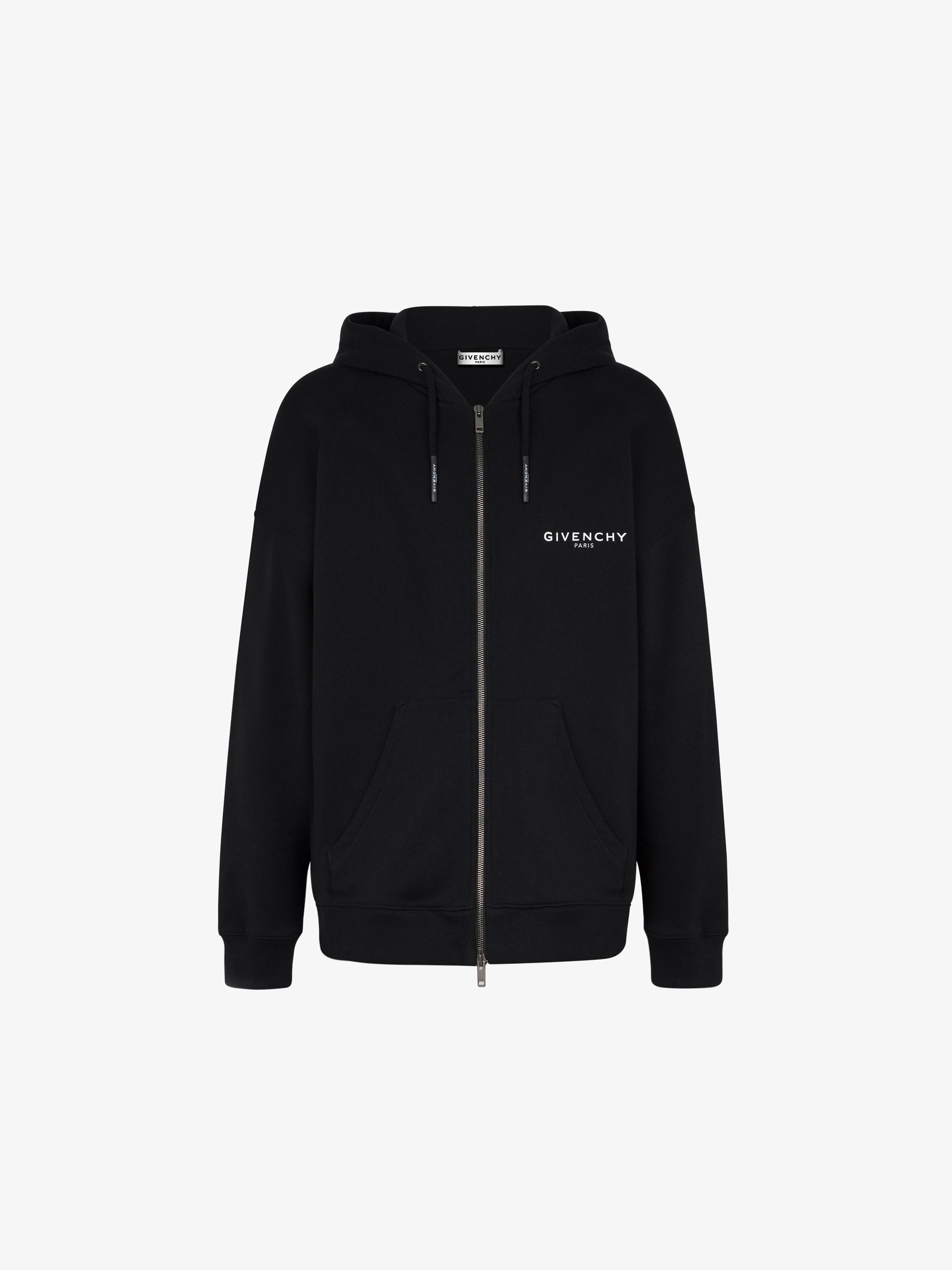 Peony embroidered zipped hoodie