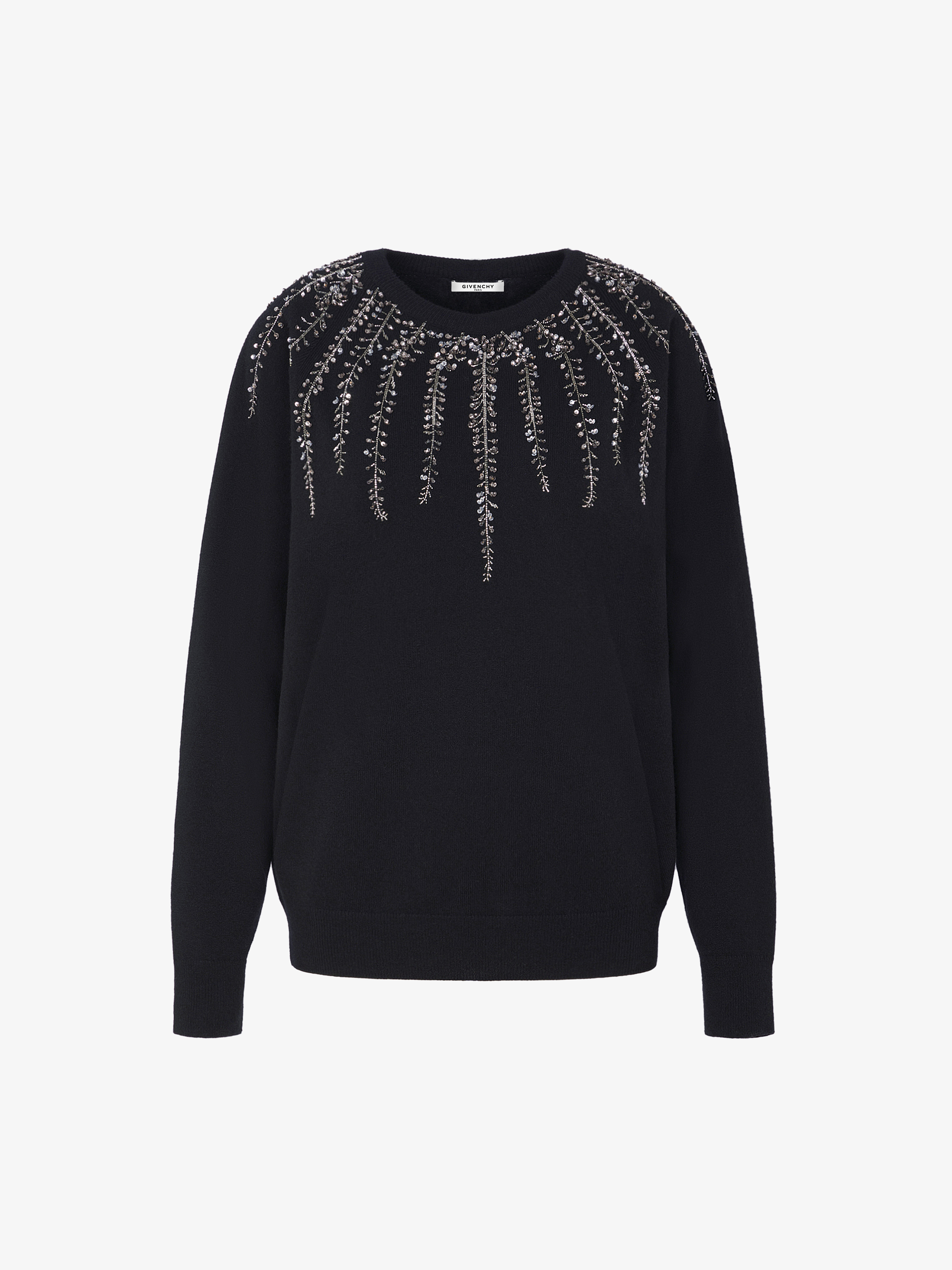 Sweater in wool and cashmere with plant-motif embroidery
