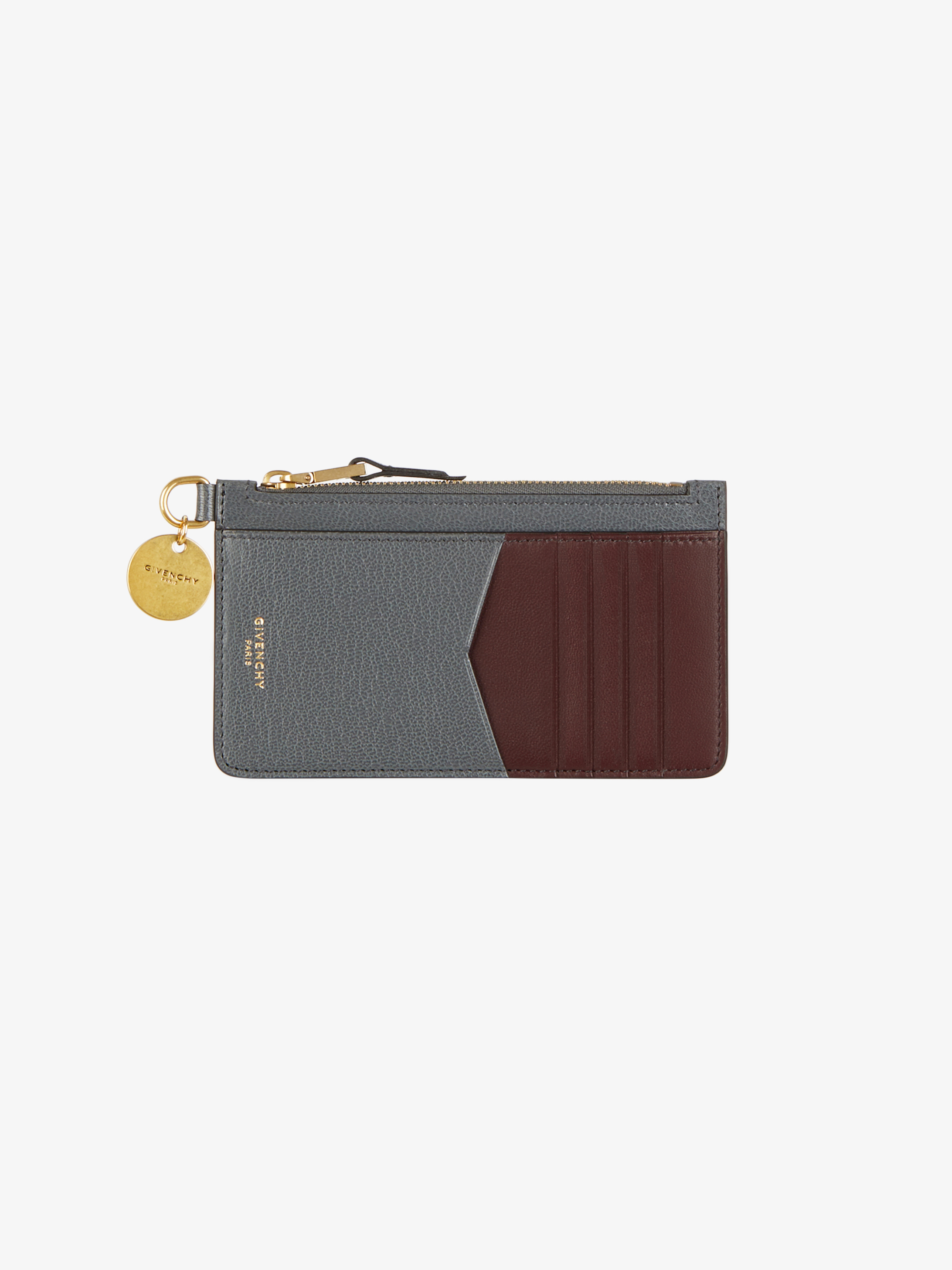 Two-toned GV3 zipped card holder in leather