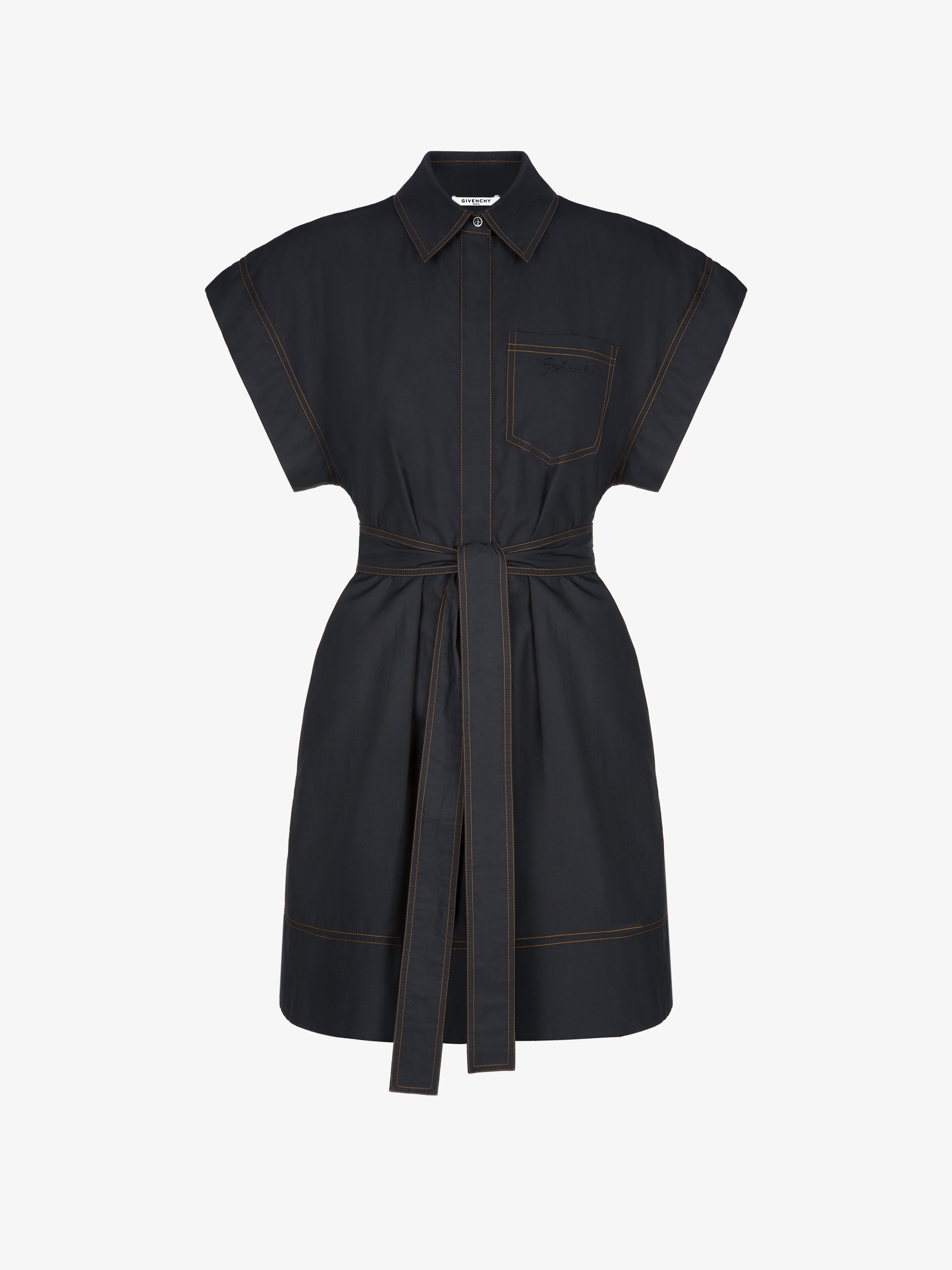 Shirt dress in cotton with belt