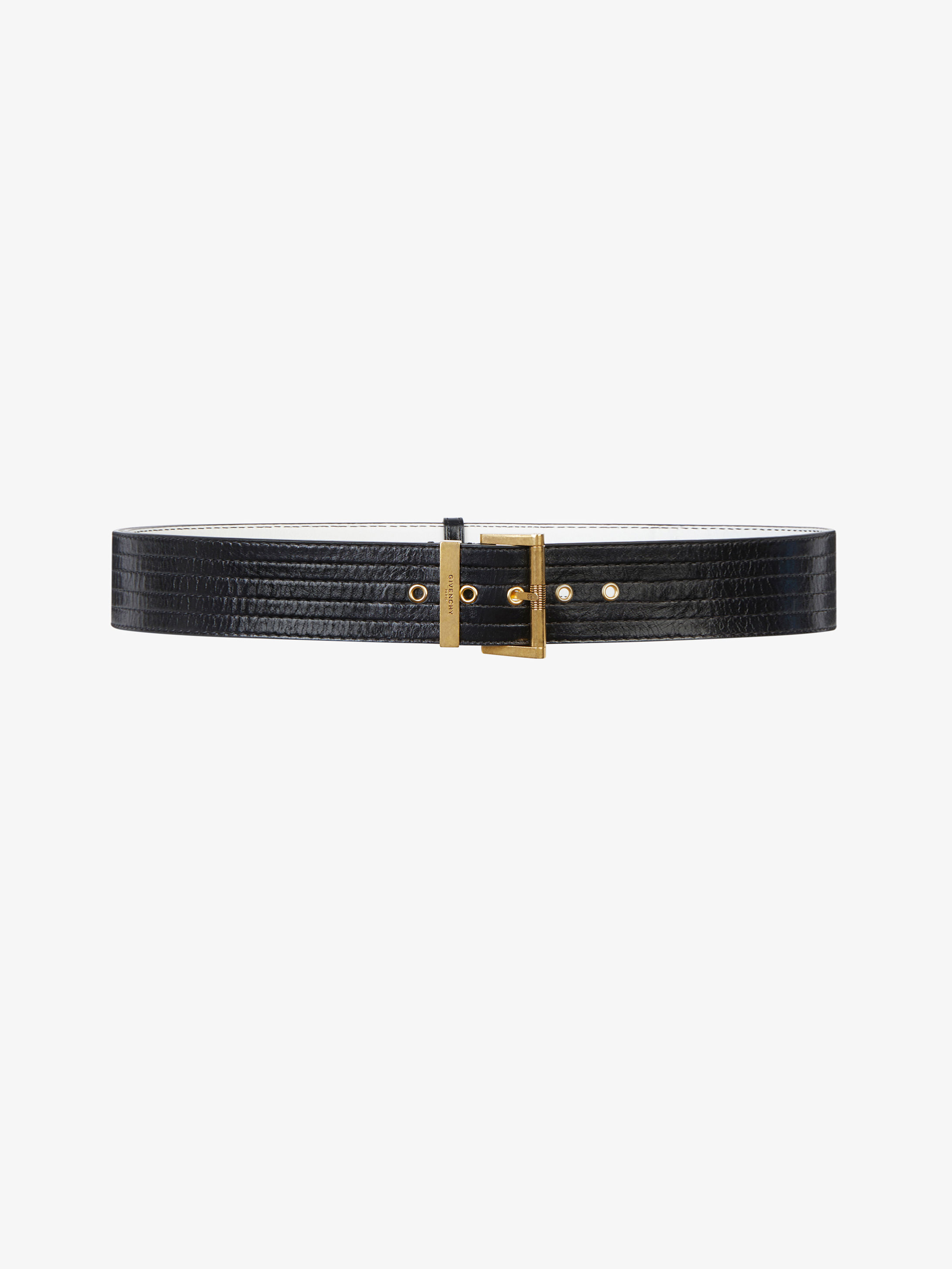 Two-tone topstich leather belt