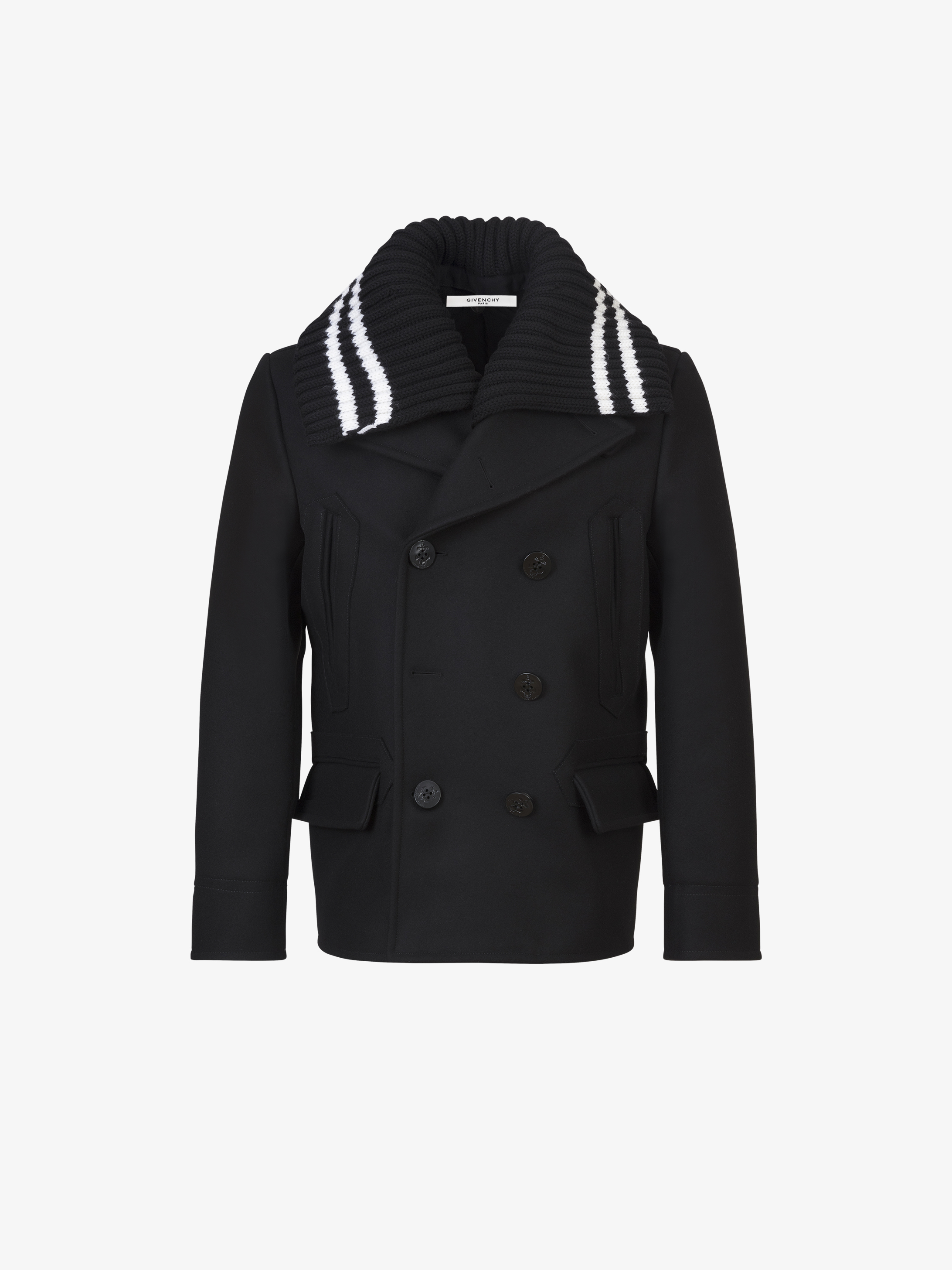 Contrasting removable collar short peacoat in wool