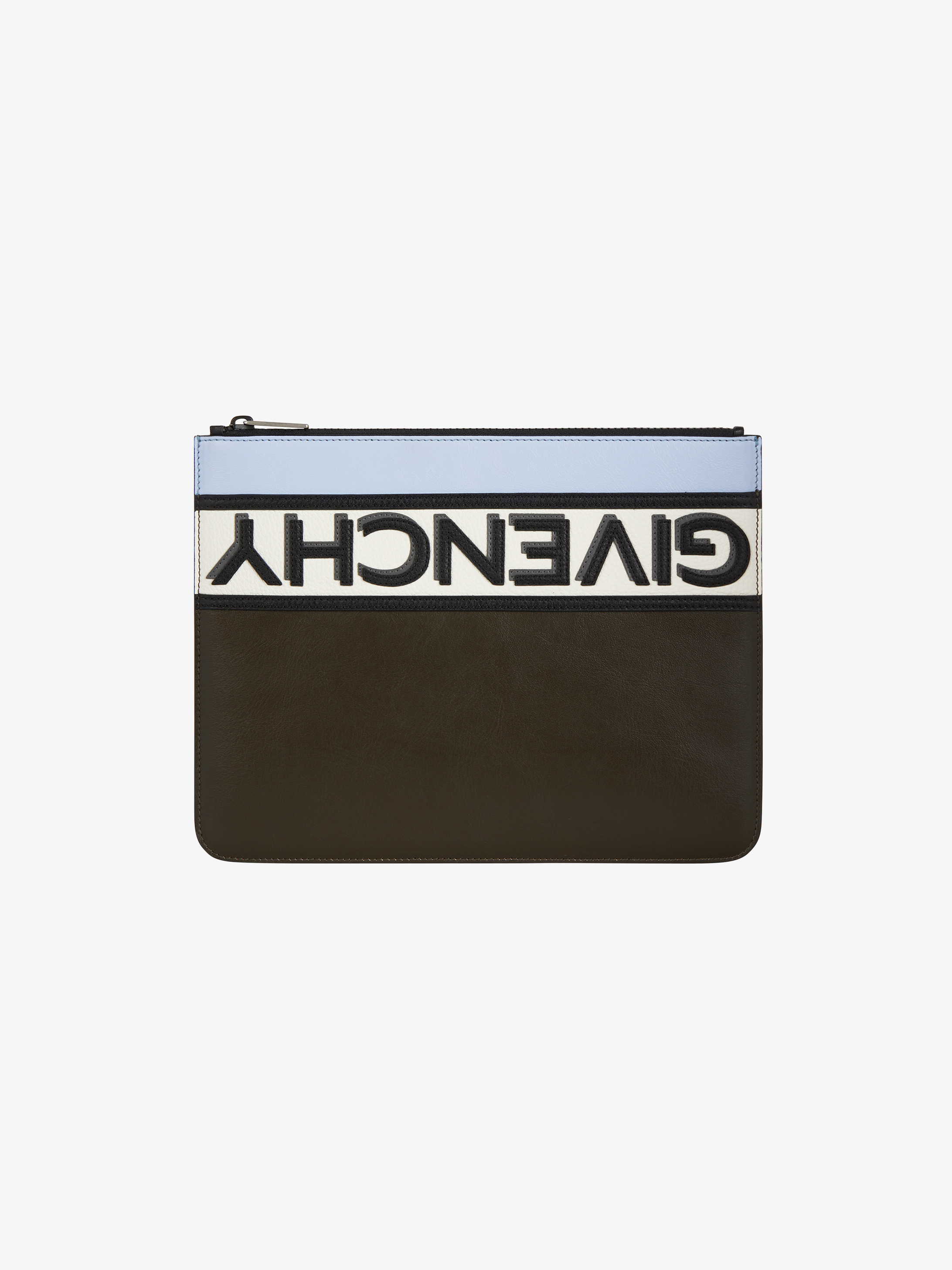 Reverse GIVENCHY large zipped pouch in leather