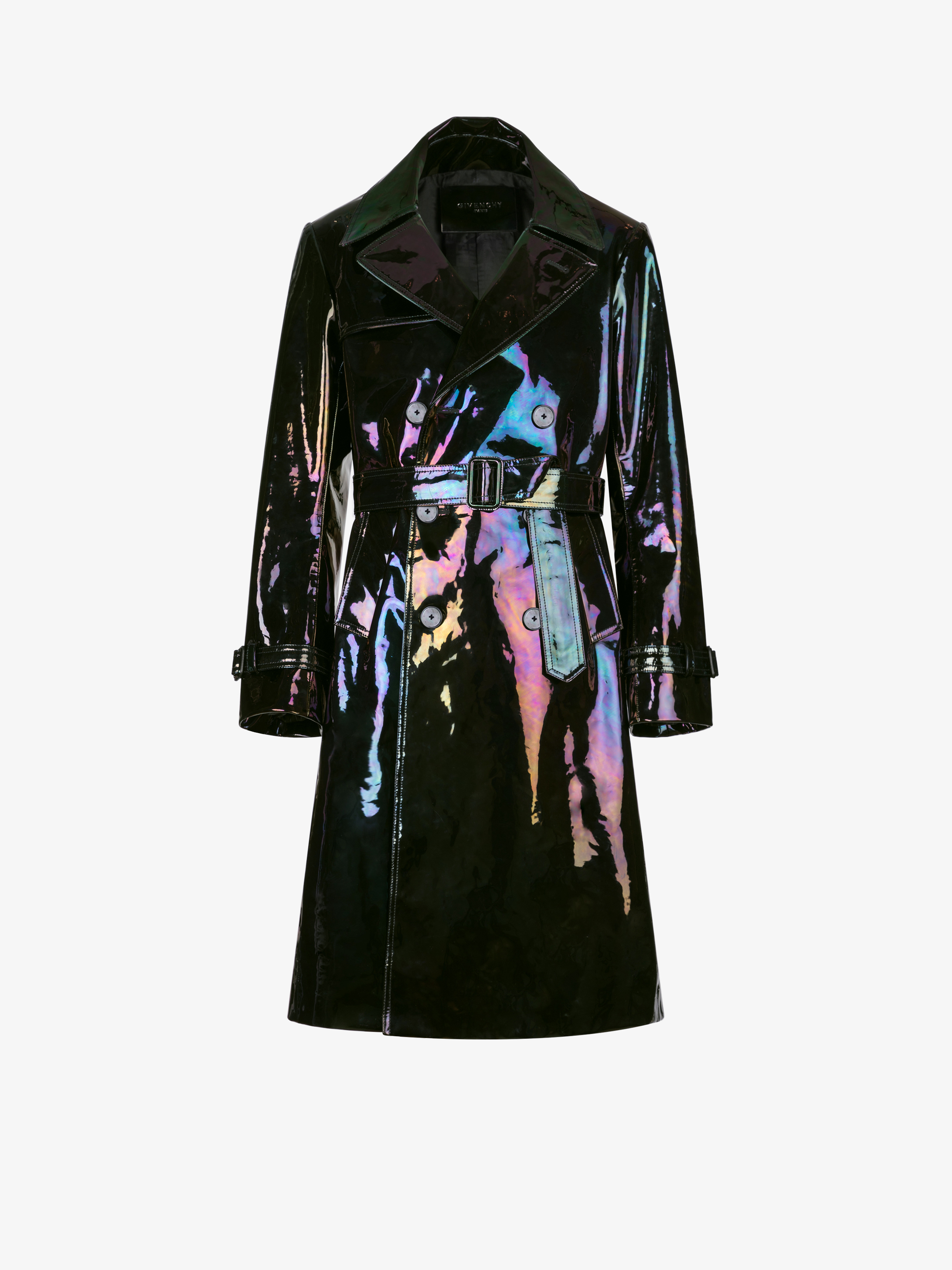 Trench en cuir iridescent