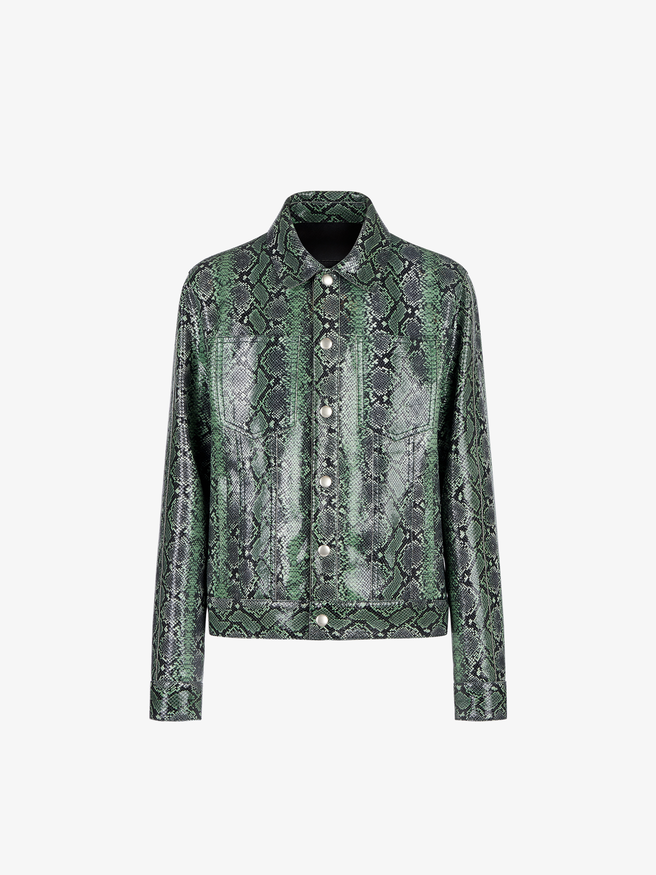 Python-effect jacket in leather