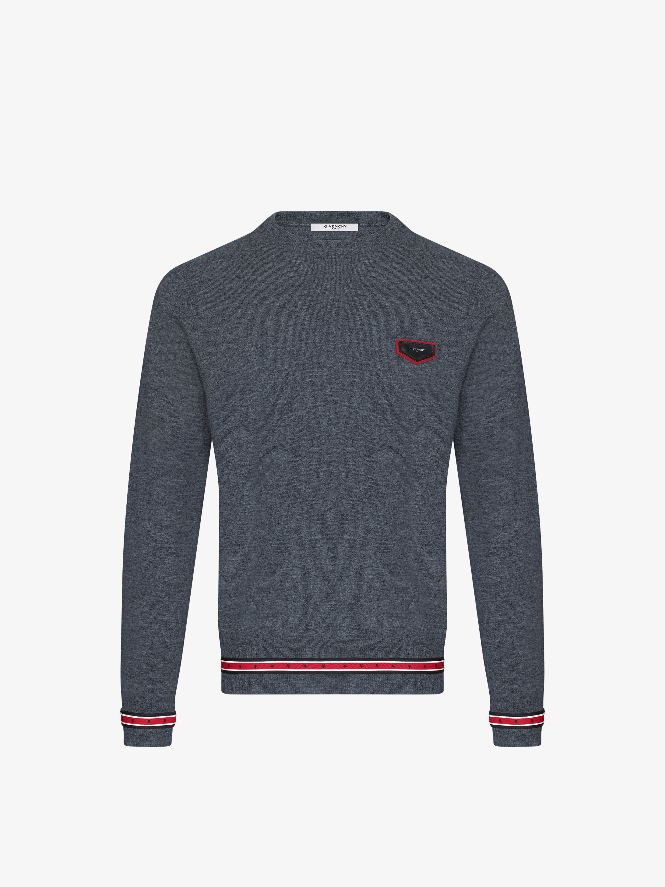 Contrasting band and GIVENCHY patch jumper