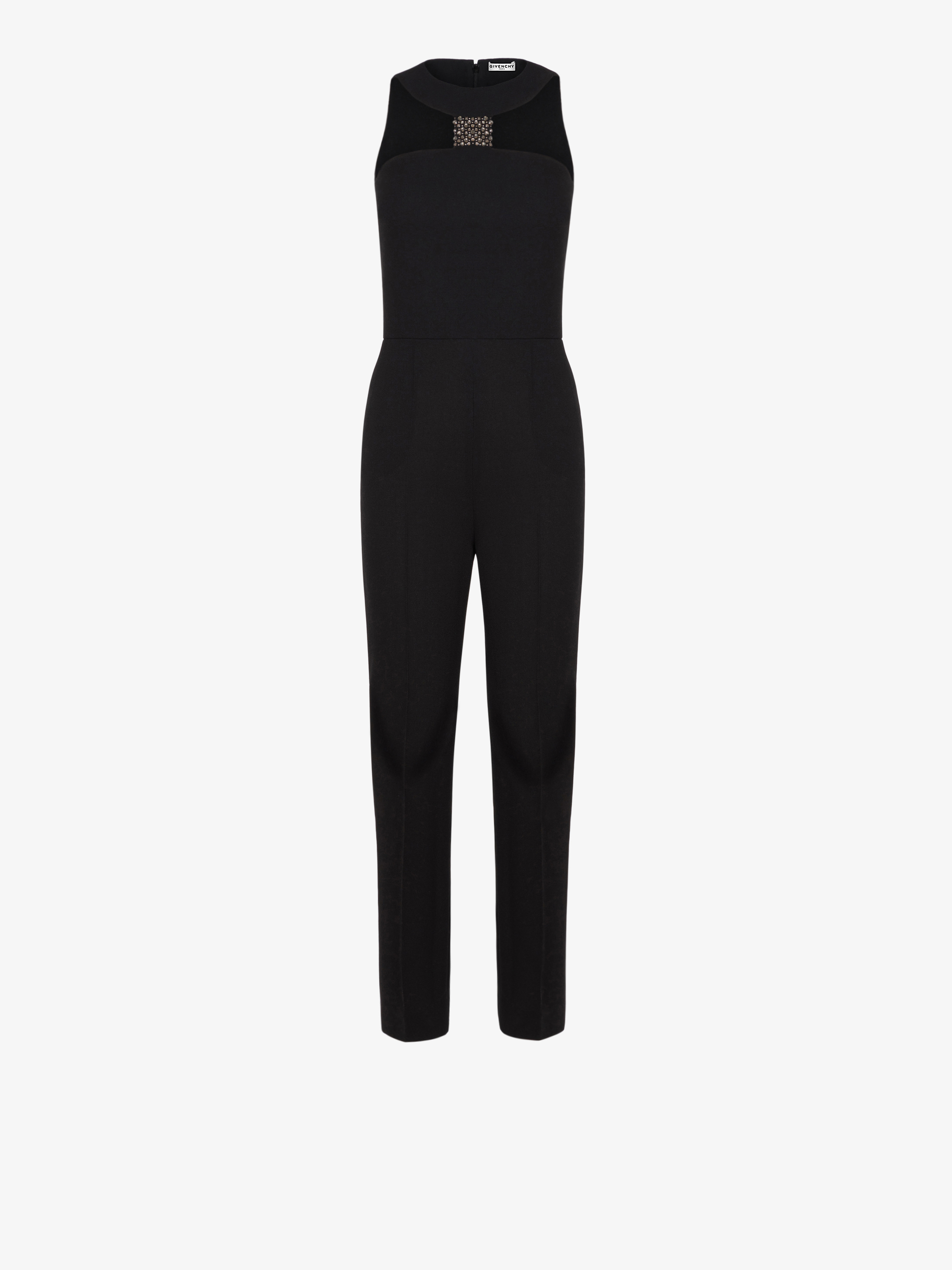 Jumpsuit in crêpe de laine with graphic neckline