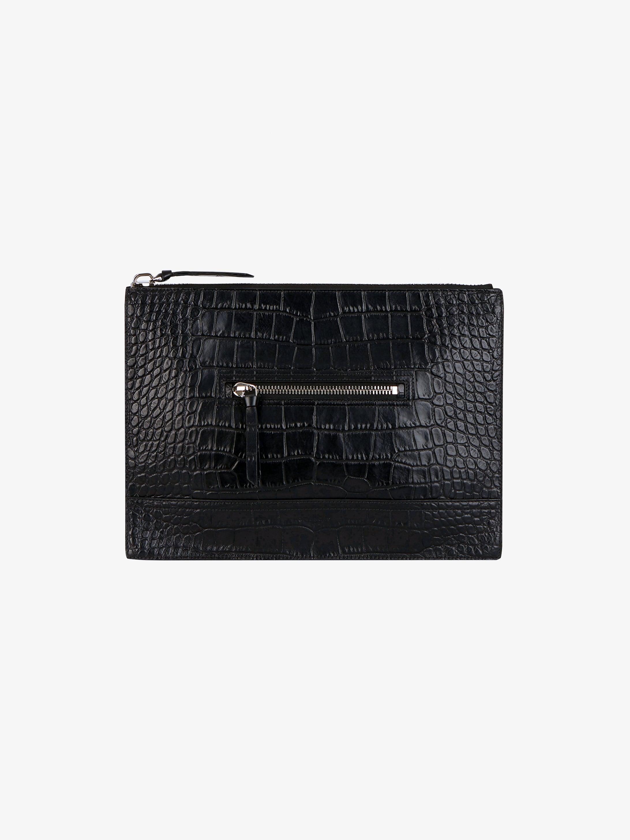 Crocodile embossed flat Pandora messenger bag