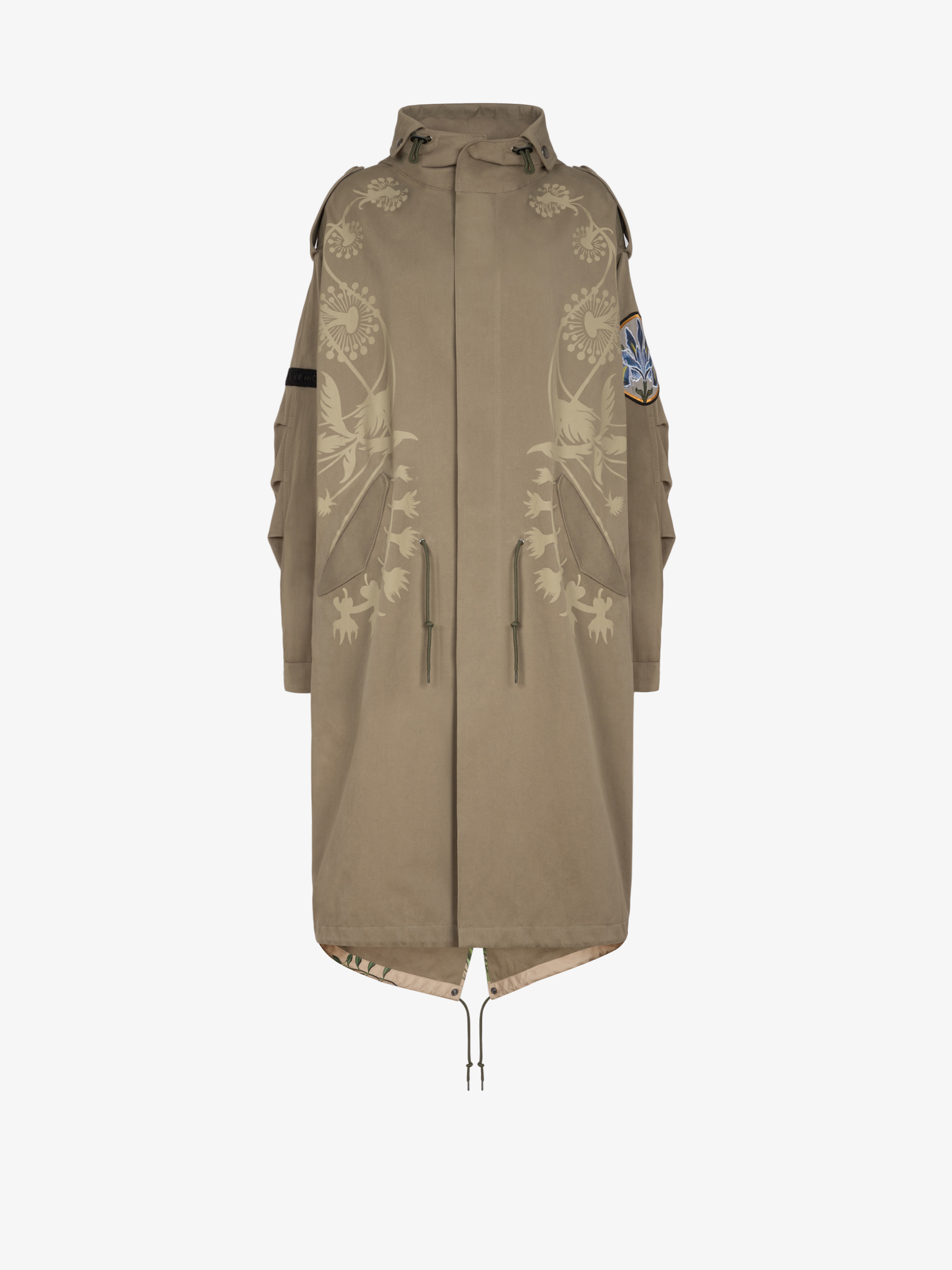 Oversized printed parka with floral patchs