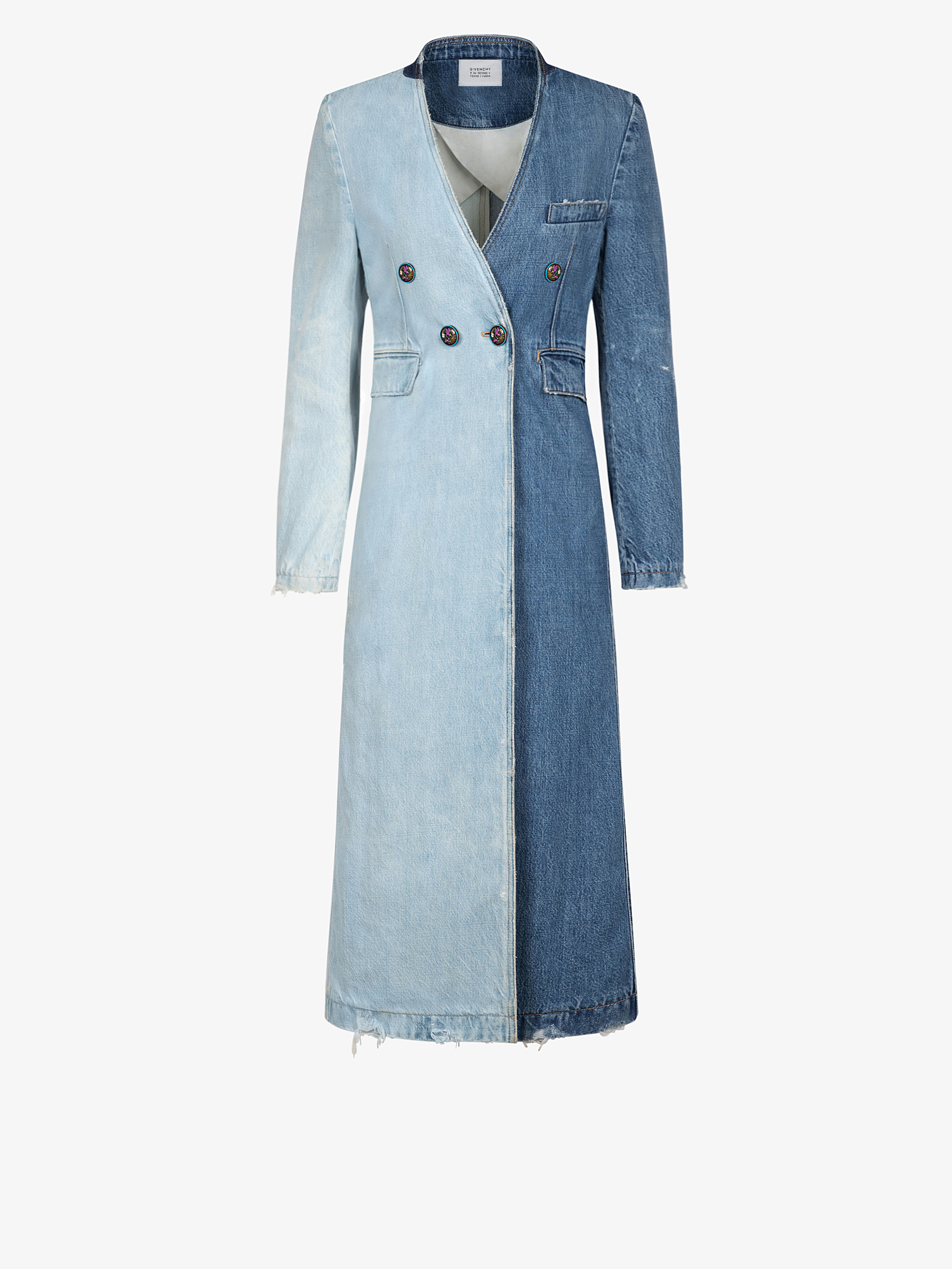 Long manteau en denim bicolore