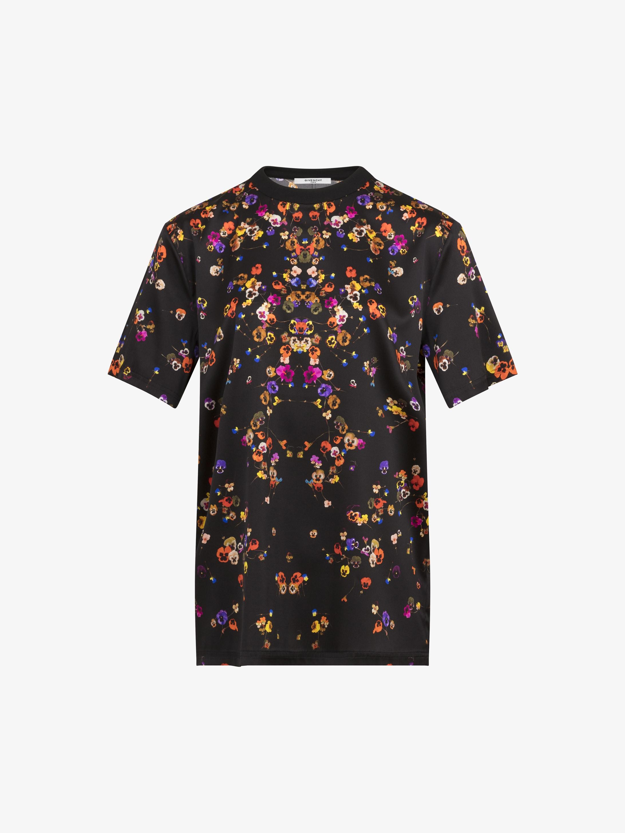 花朵印花缎面T恤