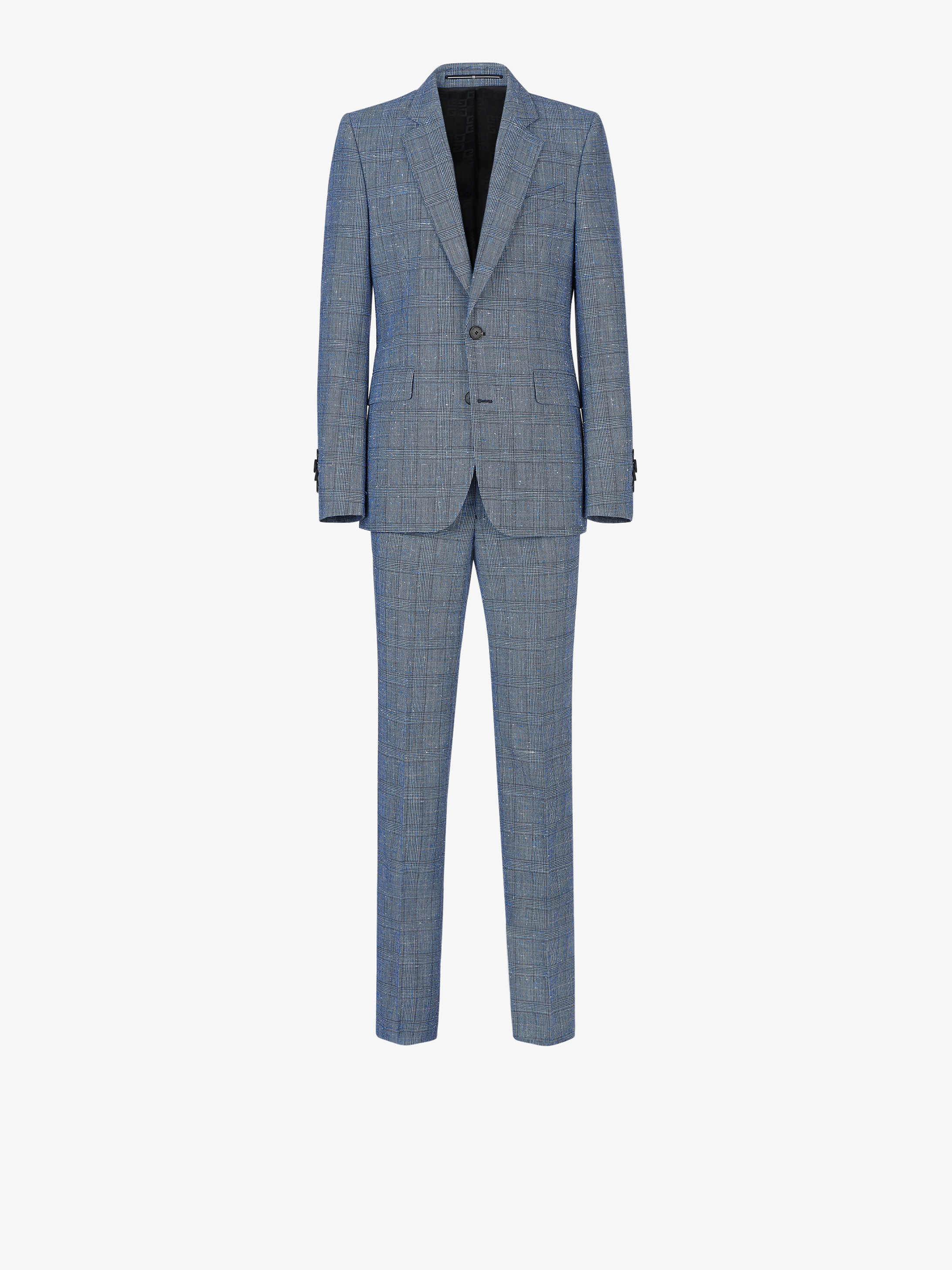 Slim fit flamed checked suit in wool