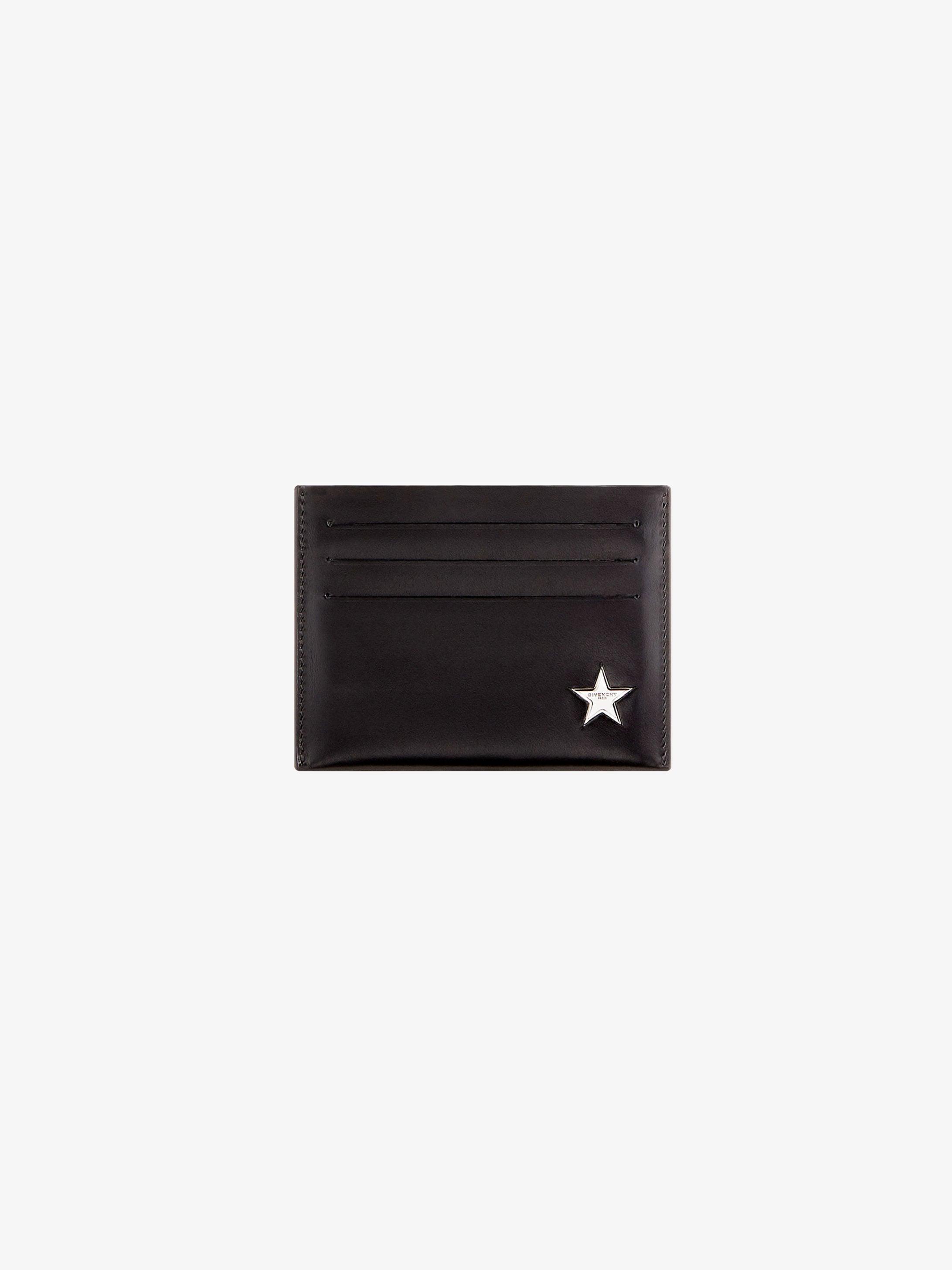 Metal star printed wallet in leather
