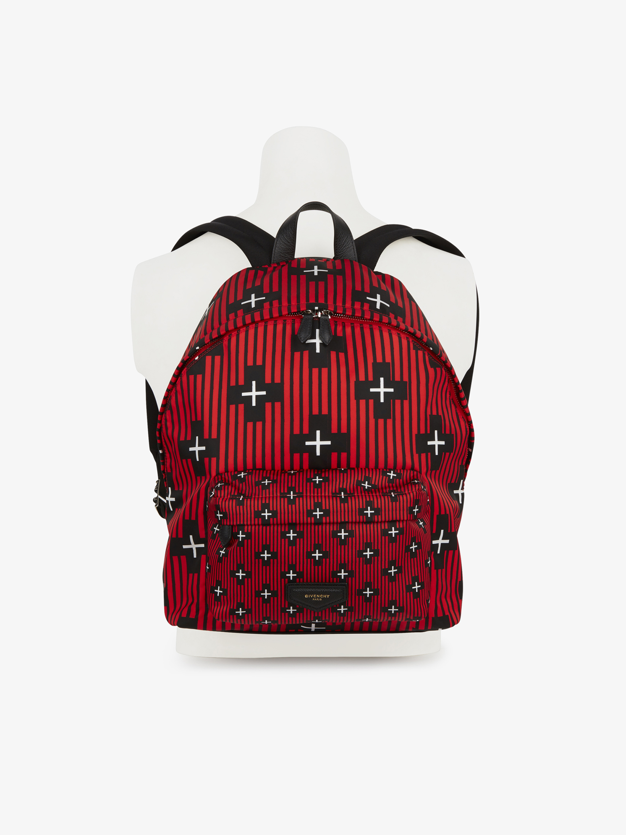 Crosses and stripes printed backpack in nylon