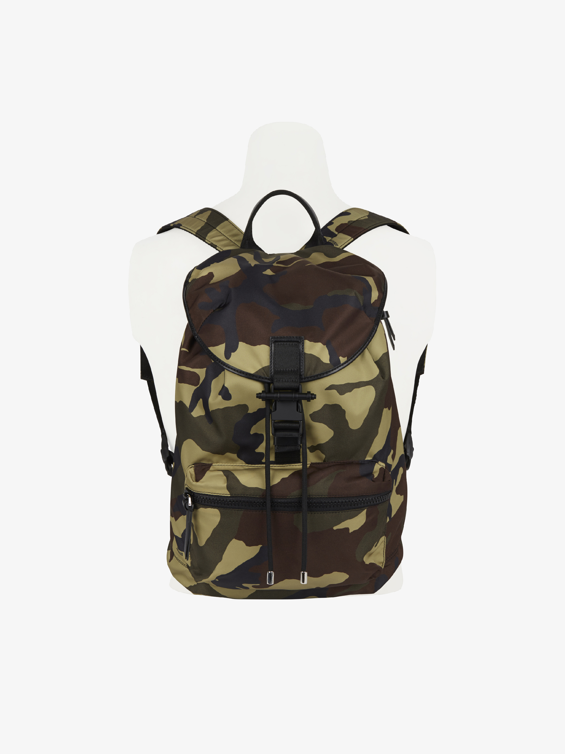 Camo printed pack-away backpack in nylon