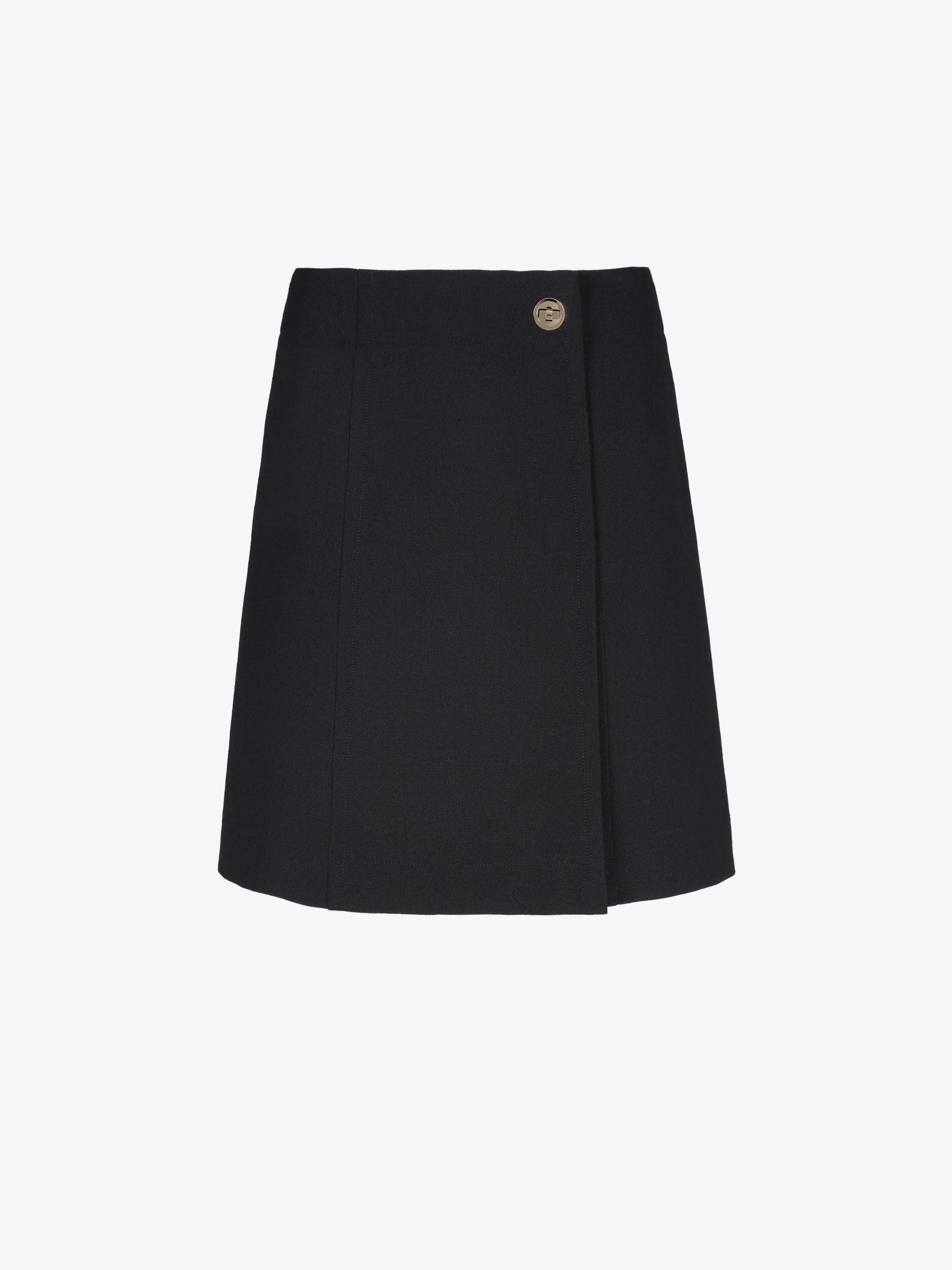Mini wrap skirt with lock button detail