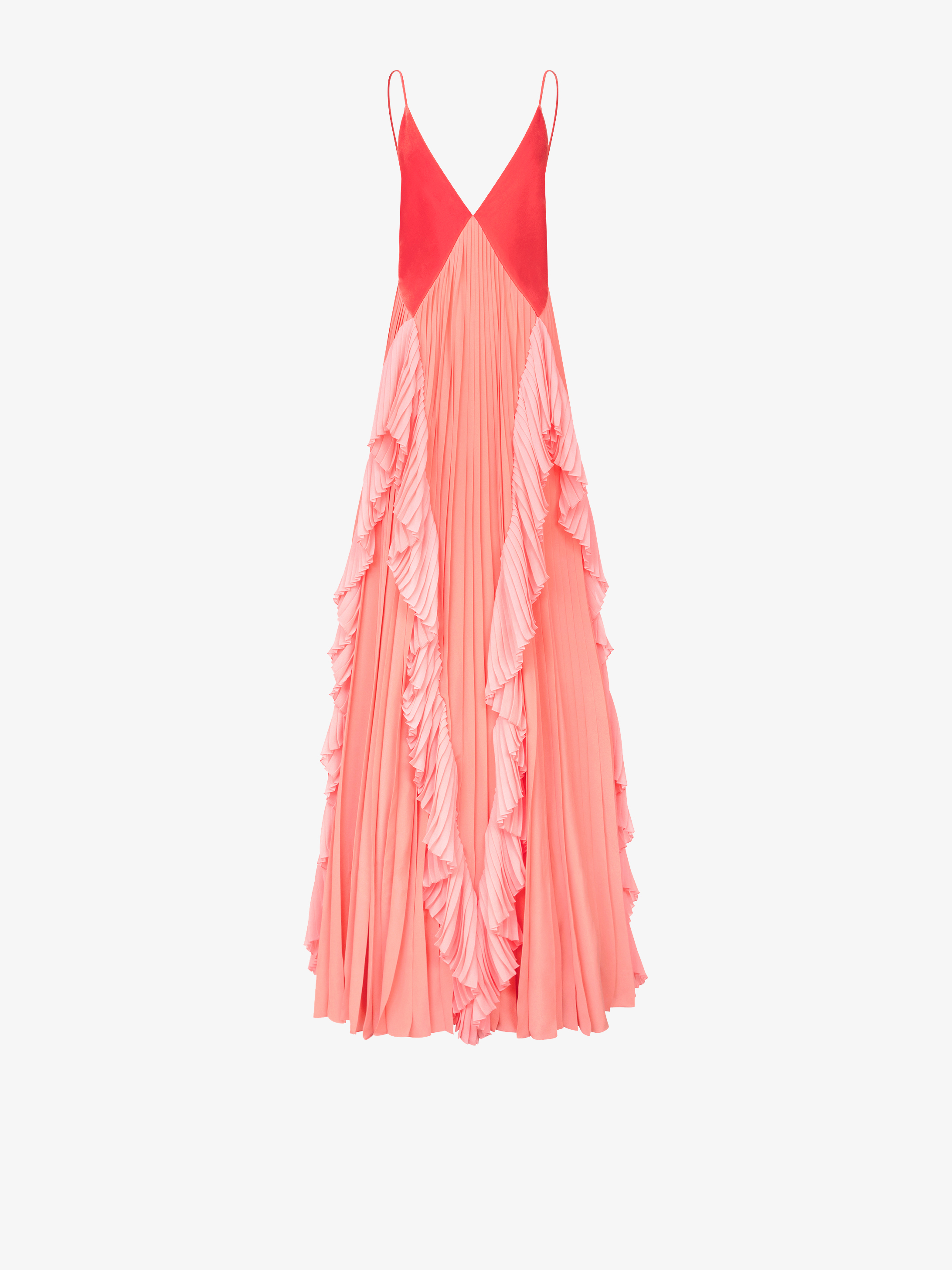 Evening pleated dress in velvet and silk