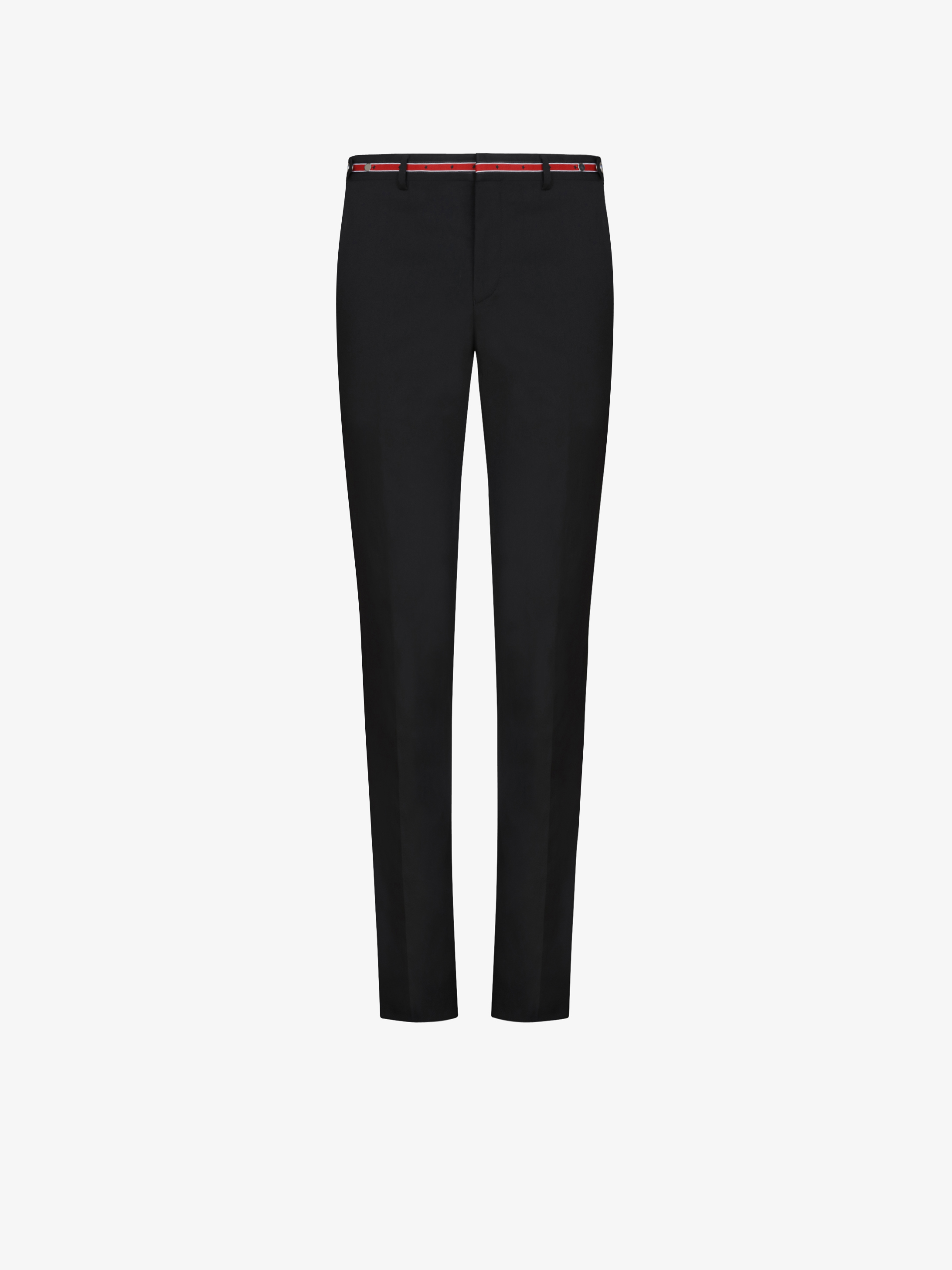 Slim fit contrasting waist wool trousers
