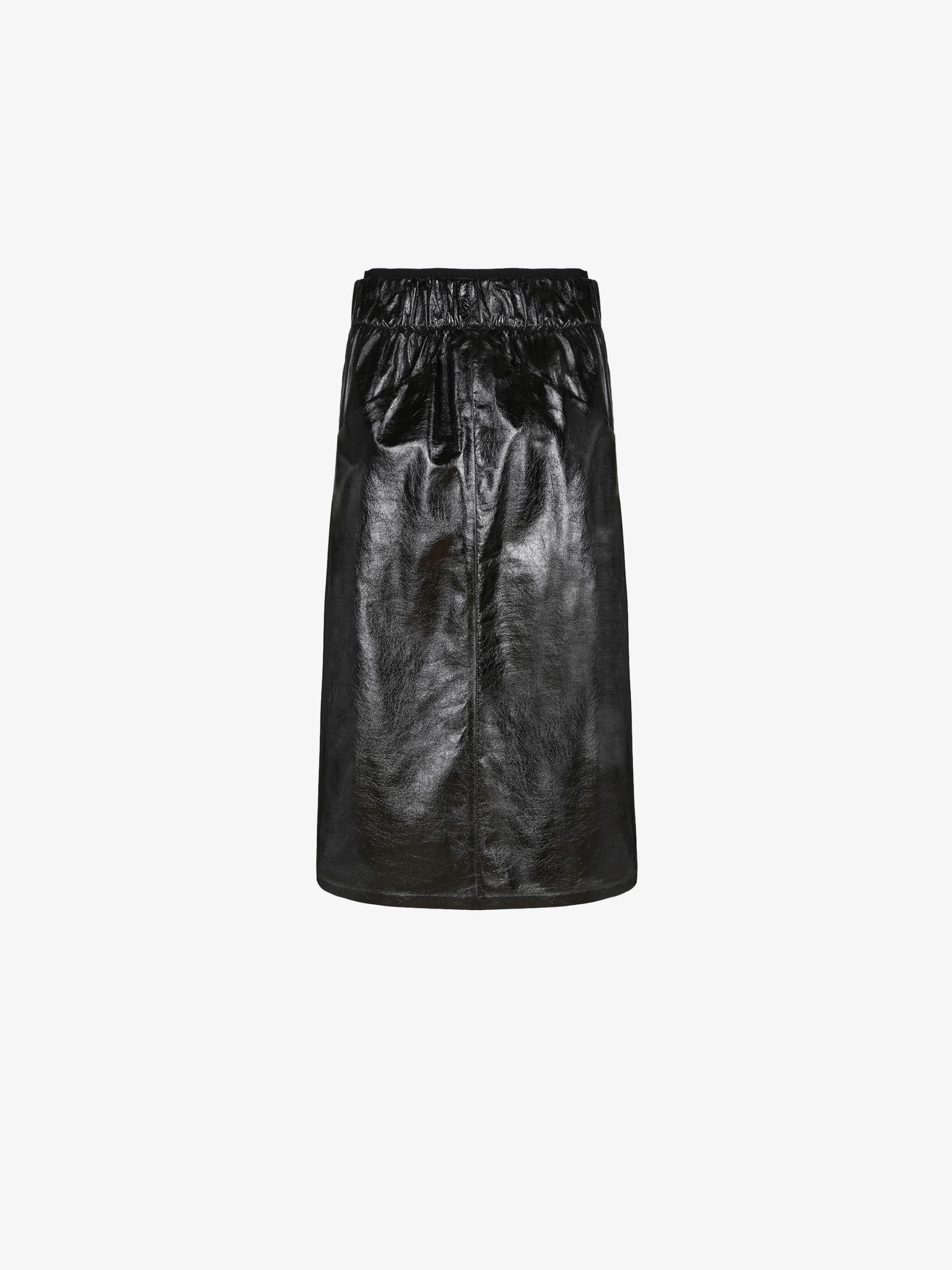 Midi skirt in light shiny leather