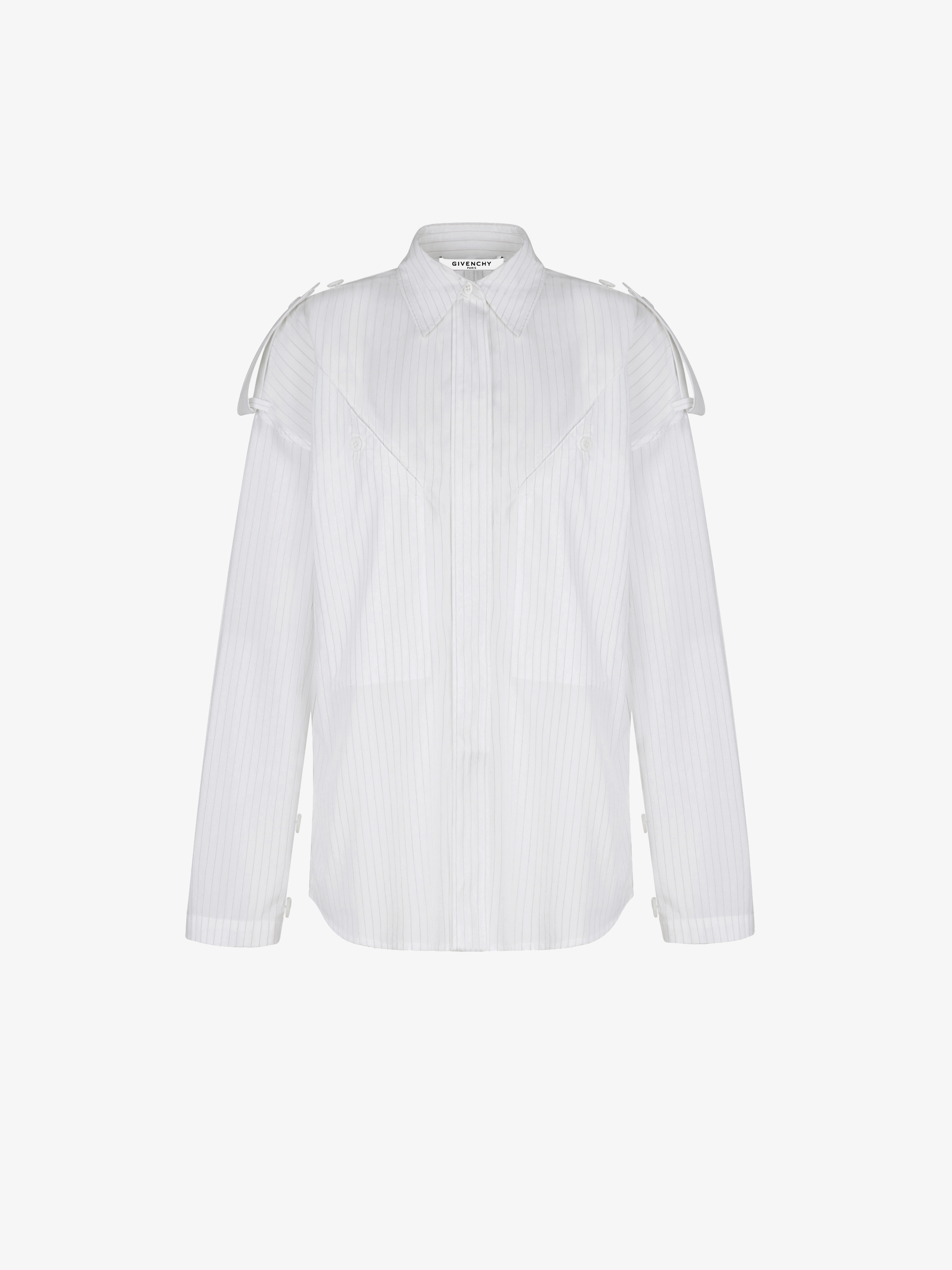 Striped military mandarin collar shirt