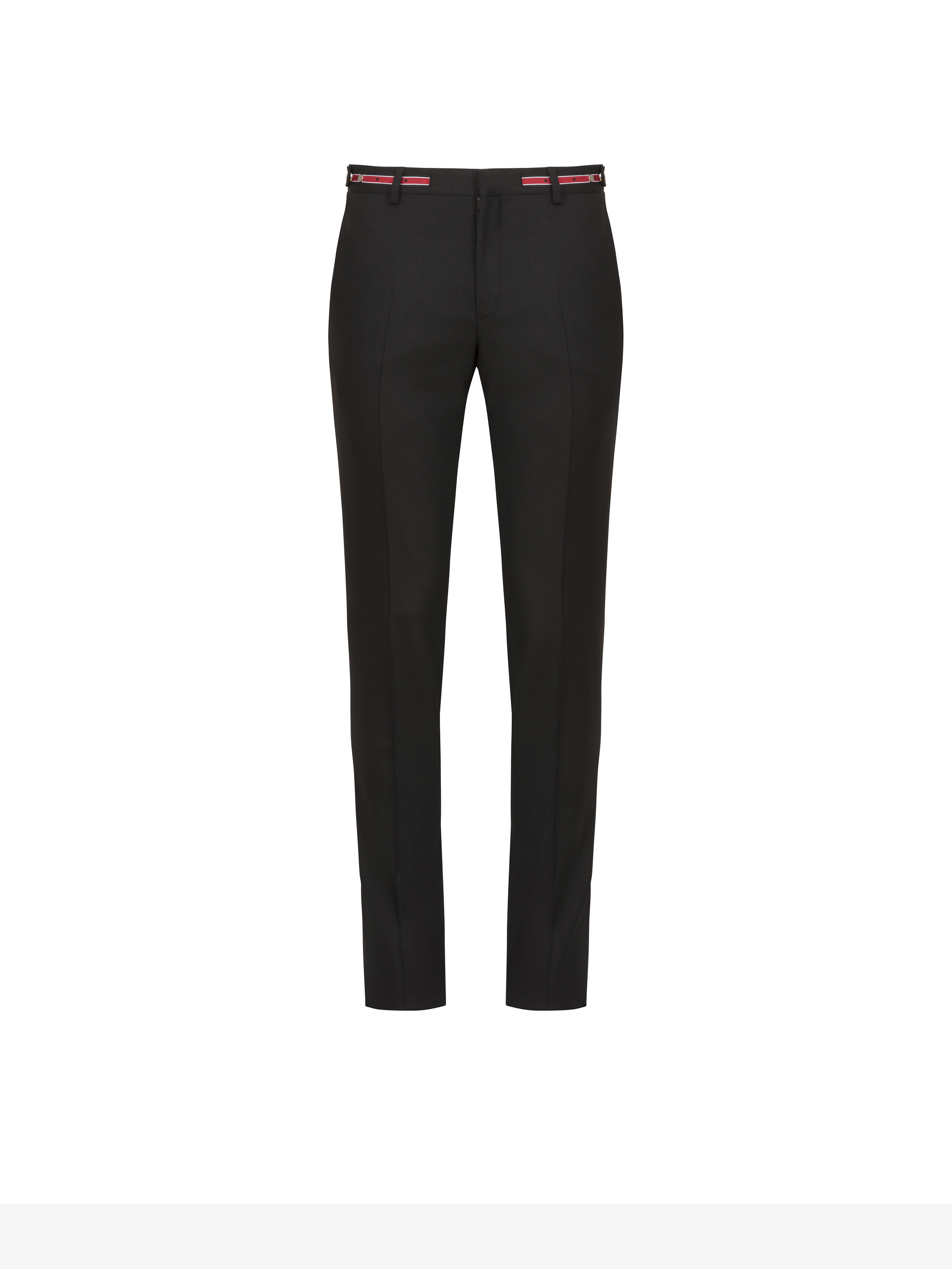 Pantaloni slim con cintura a contrasto