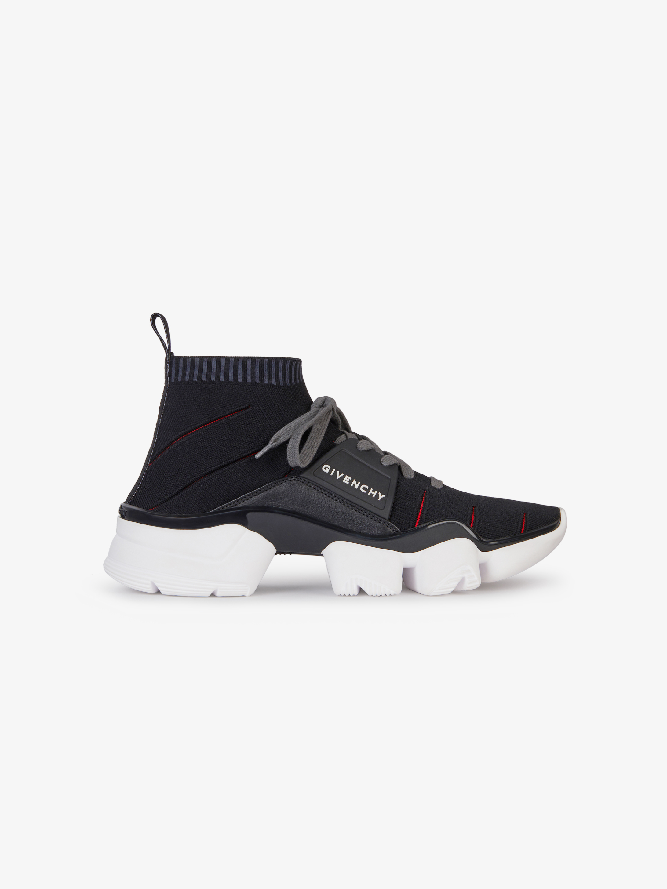 Jaw mid-height knitted sneakers with contrasted cuts out