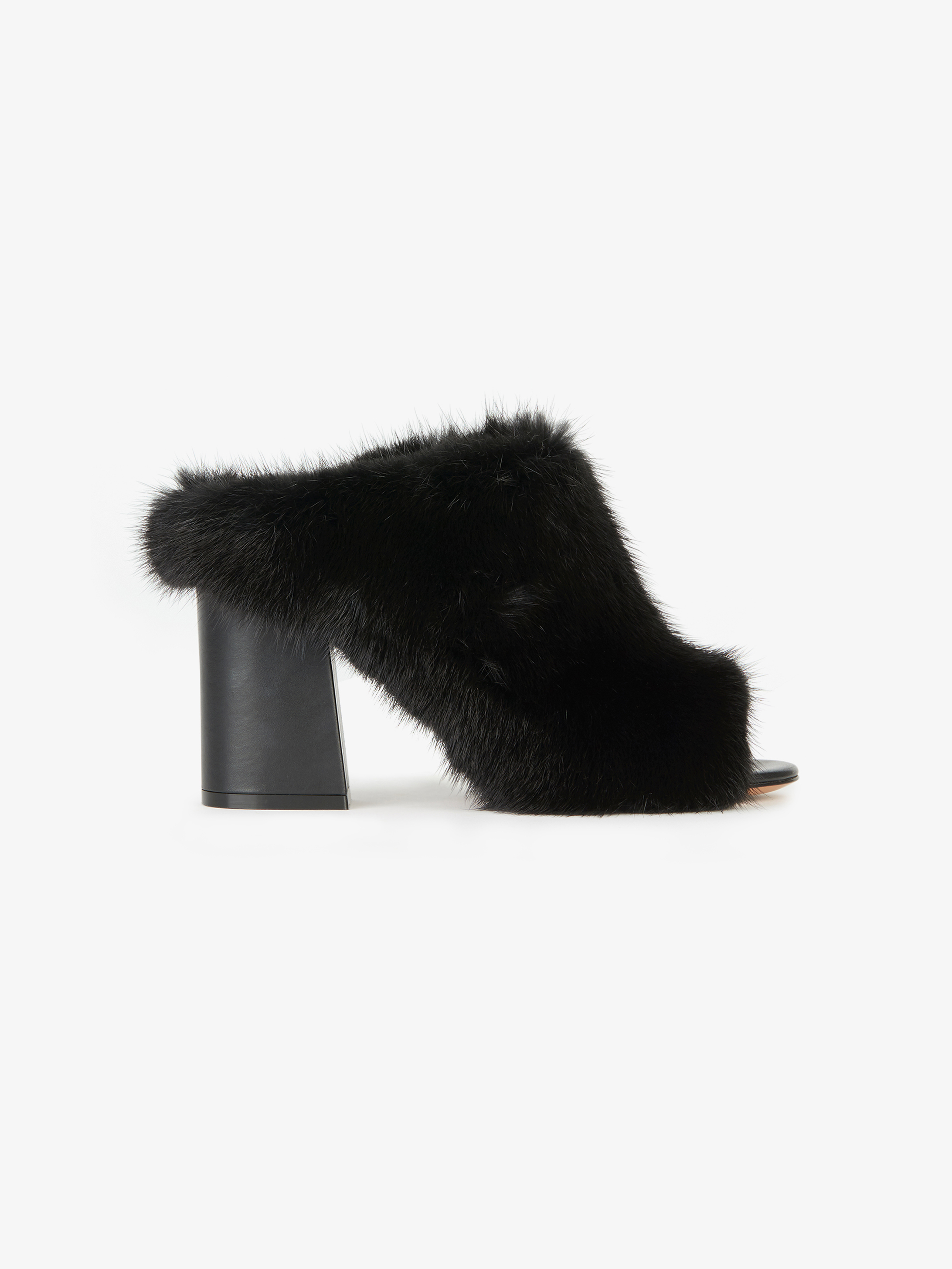 High heel mules in mink and leather