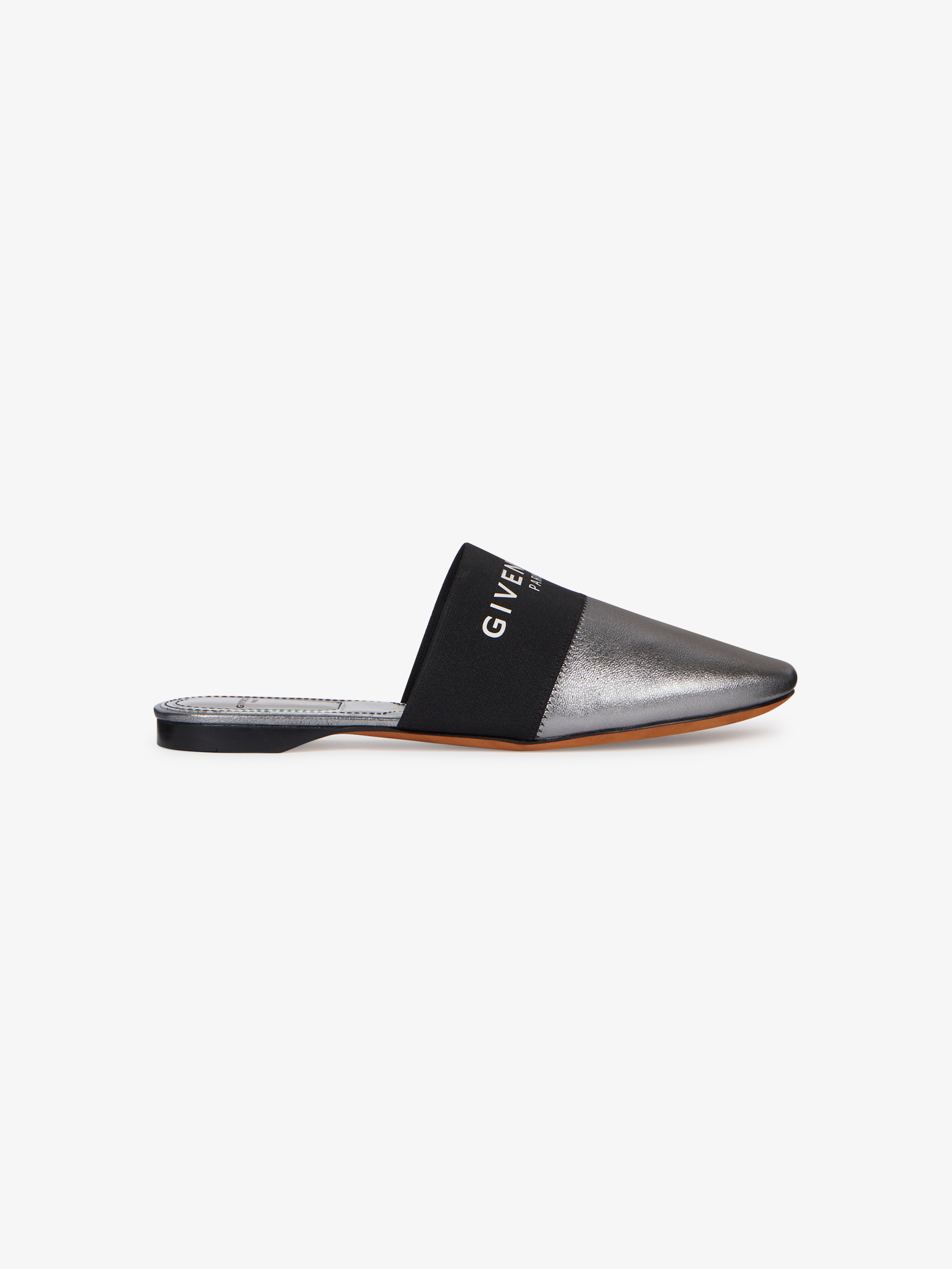 GIVENCHY PARIS flat mules in metallic leather
