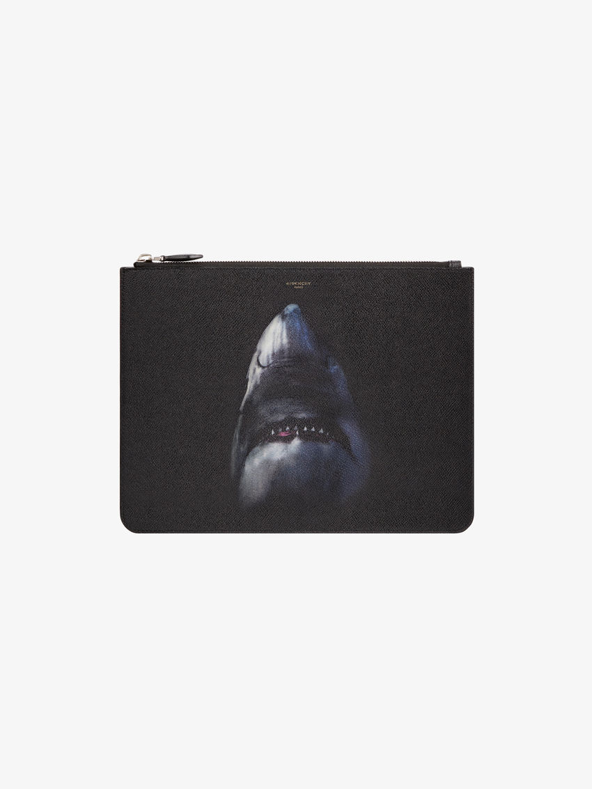 Shark printed large pouch