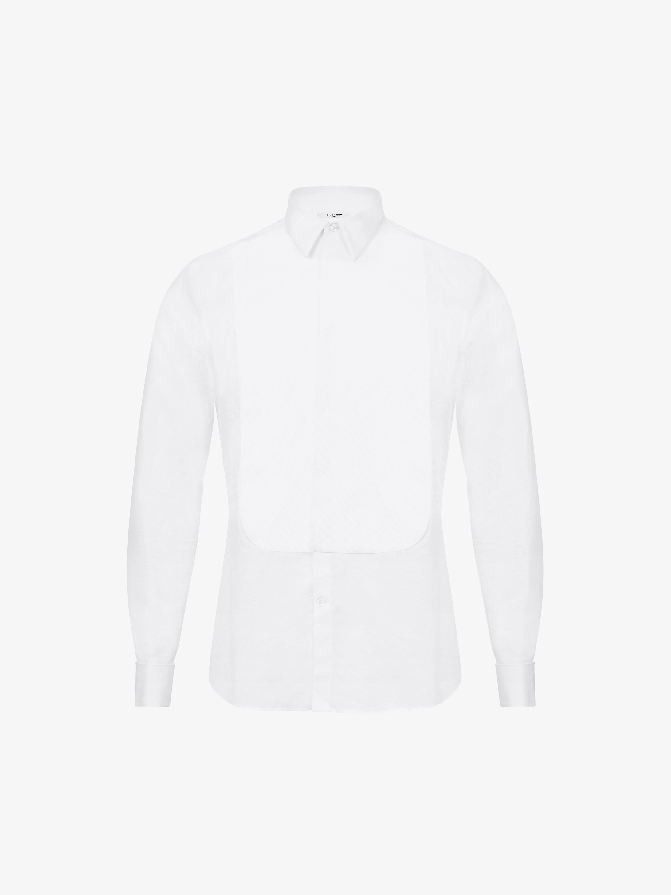Slim fit shirt in piqué and cotton