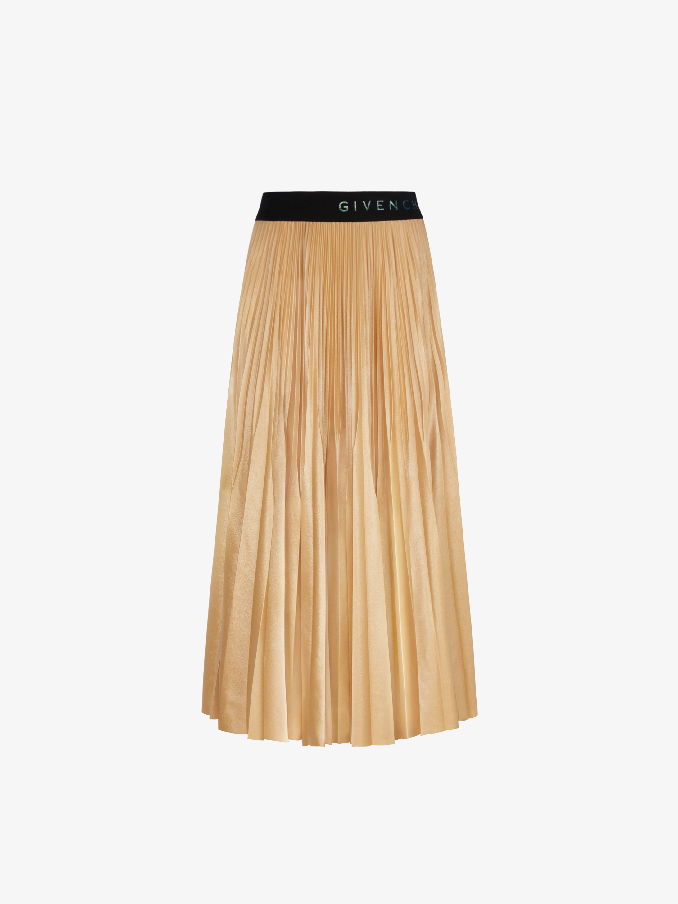Skirt in varnish pleated jersey
